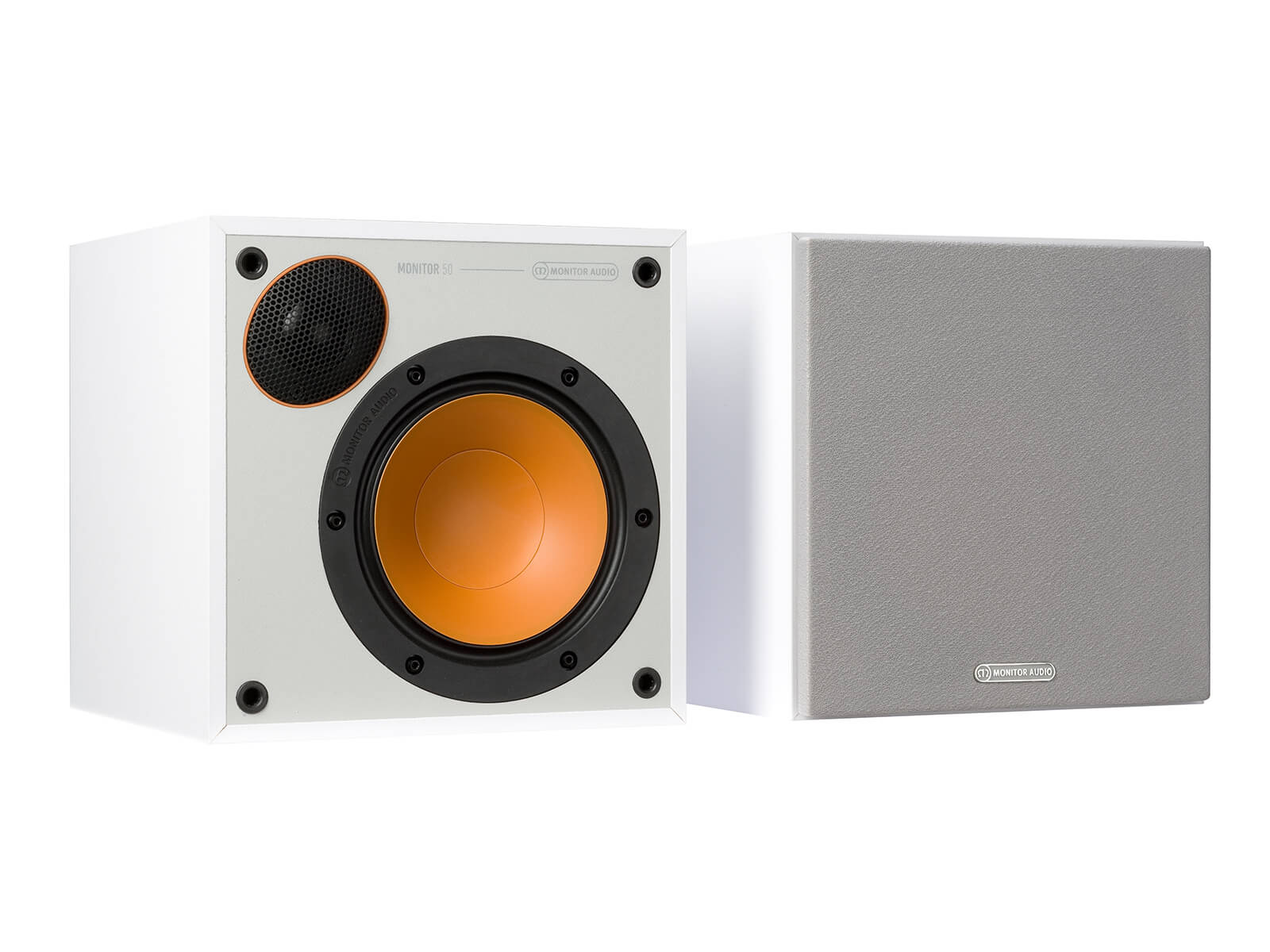 Monitor 50, bookshelf speakers, with and without grille in a white finish.