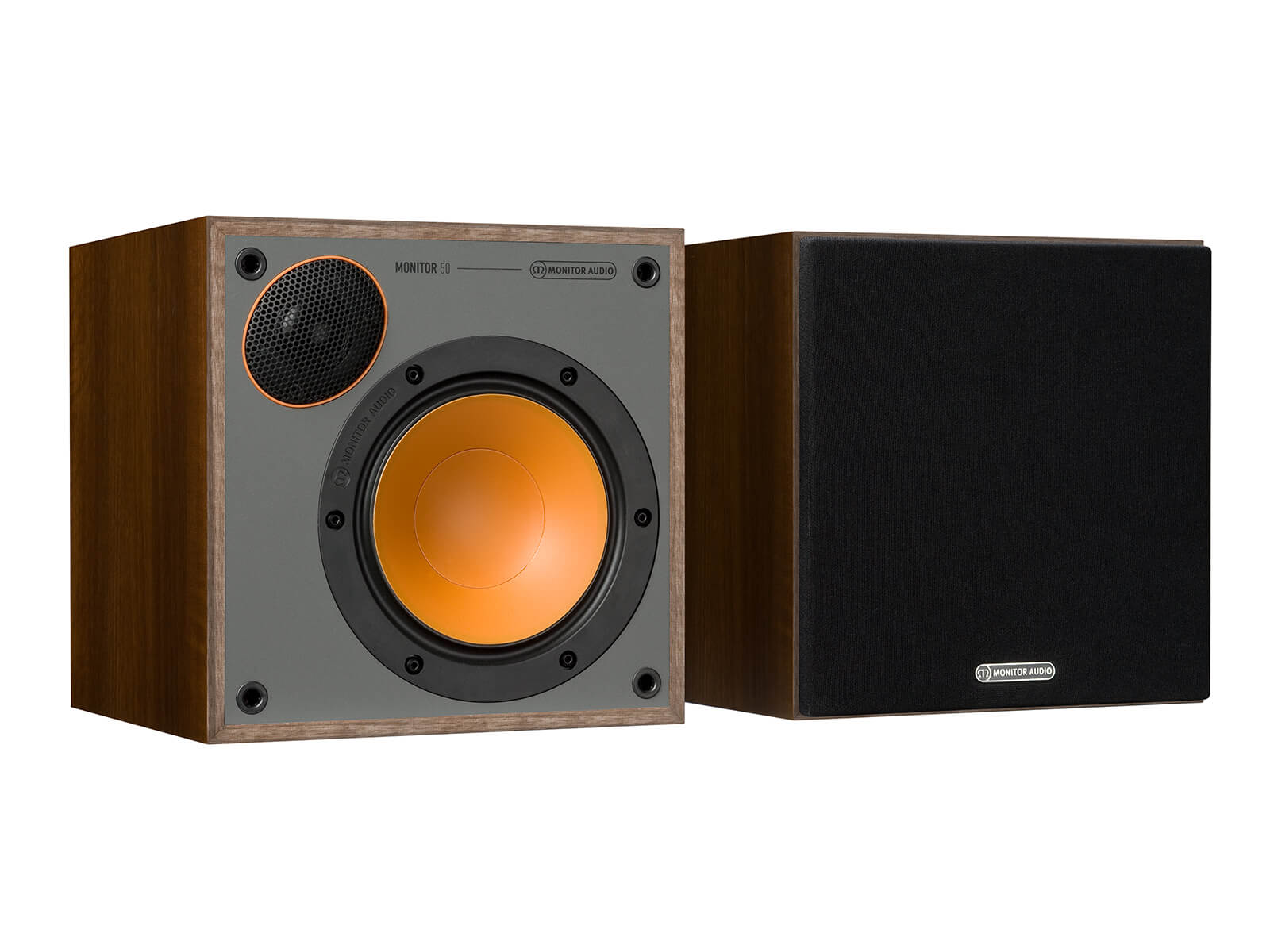 Monitor 50, bookshelf speakers, with and without grille in a walnut vinyl finish.
