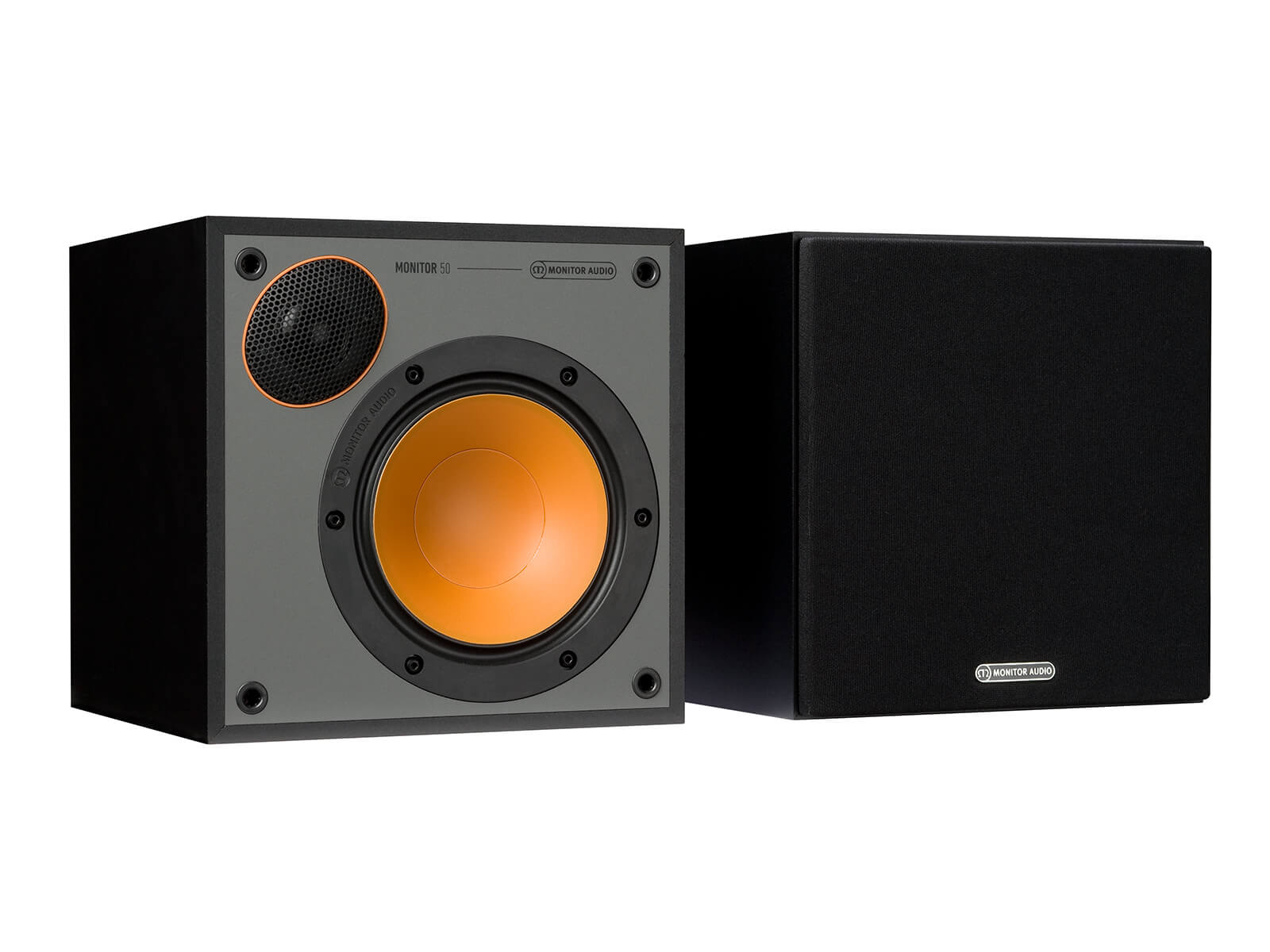 Monitor 50, bookshelf speakers, with and without grille in a black finish.