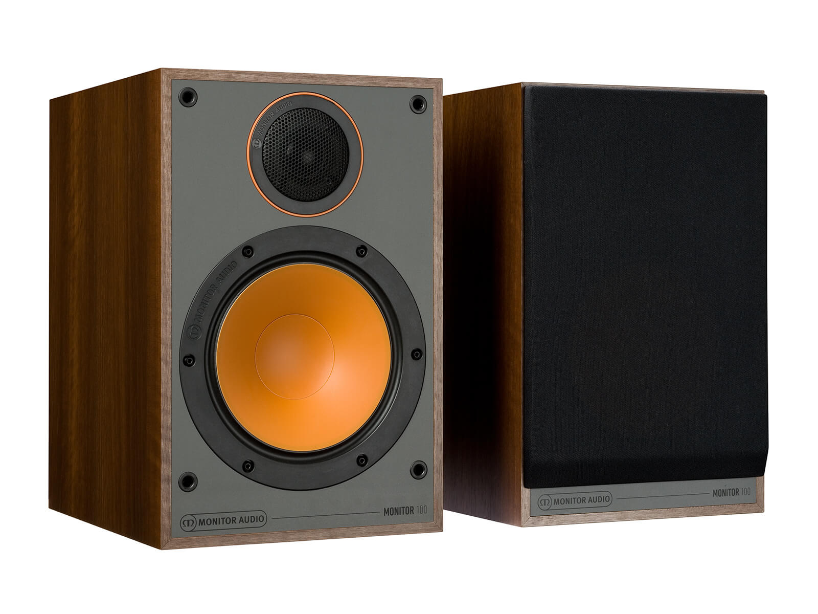 Monitor 100, bookshelf speakers, with and without grille in a walnut vinyl finish.