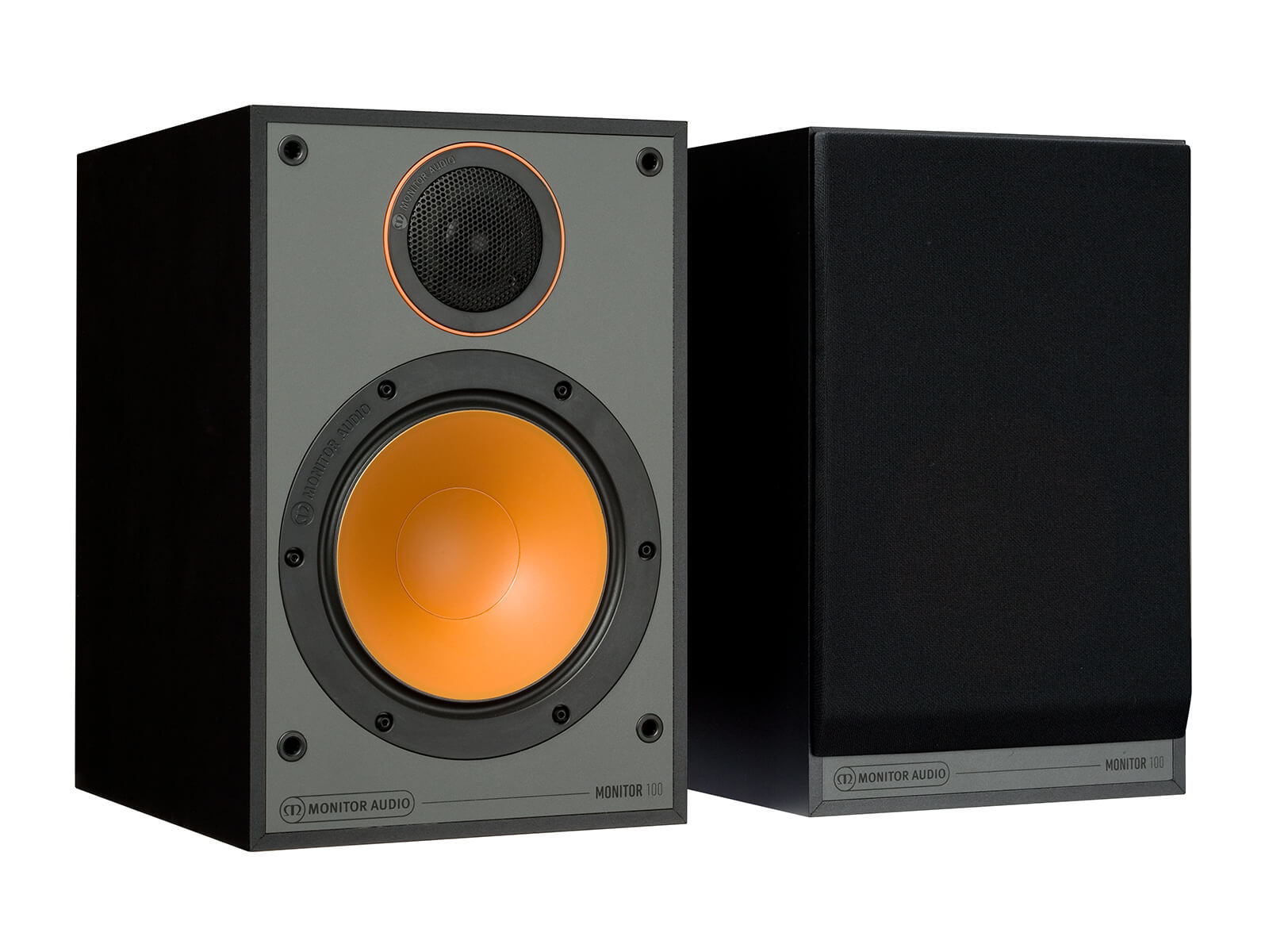 Monitor 100, bookshelf speakers, with and without grille in a black finish.