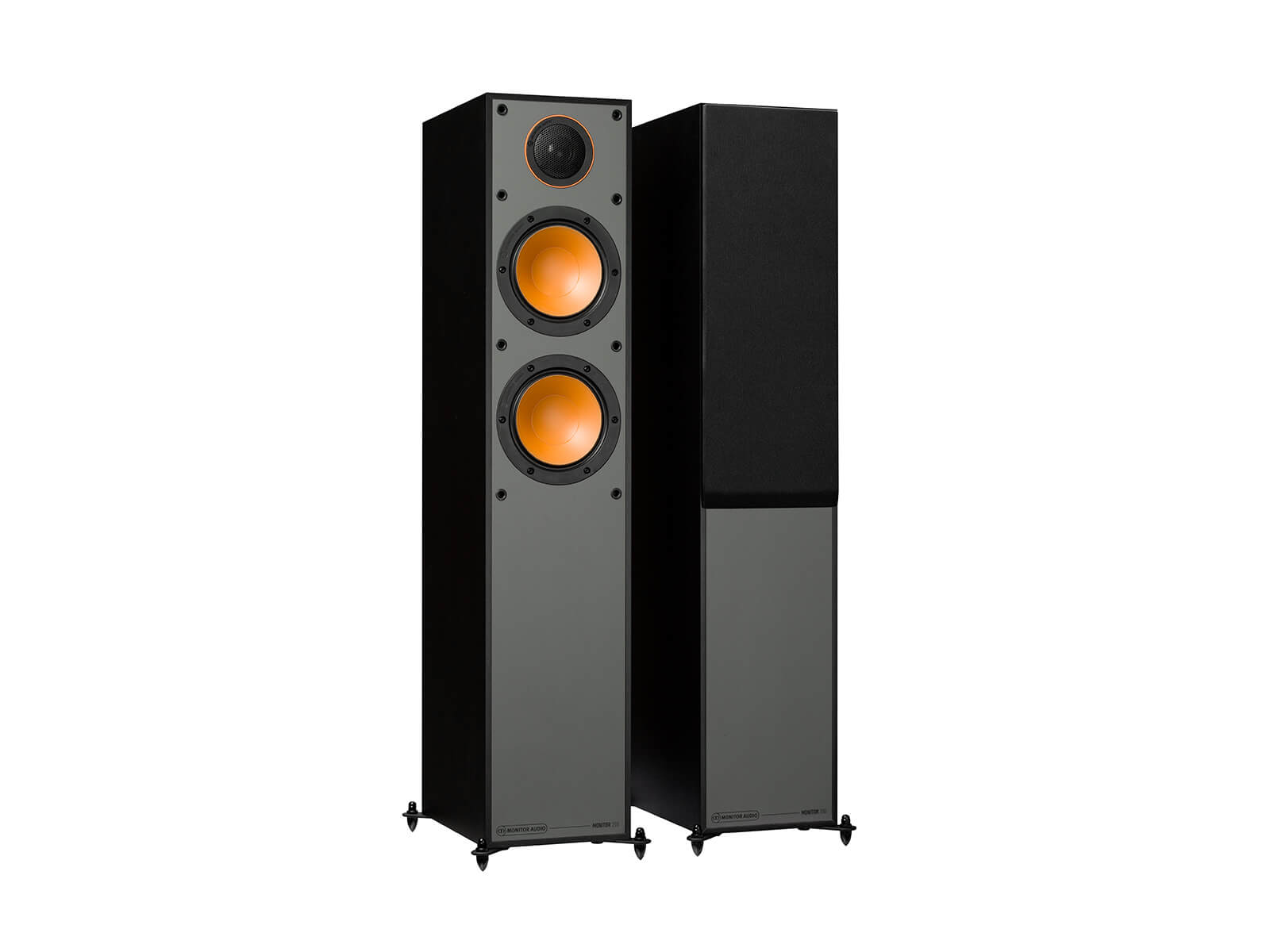 Monitor 200, floorstanding speakers, with and without grille in a black finish.