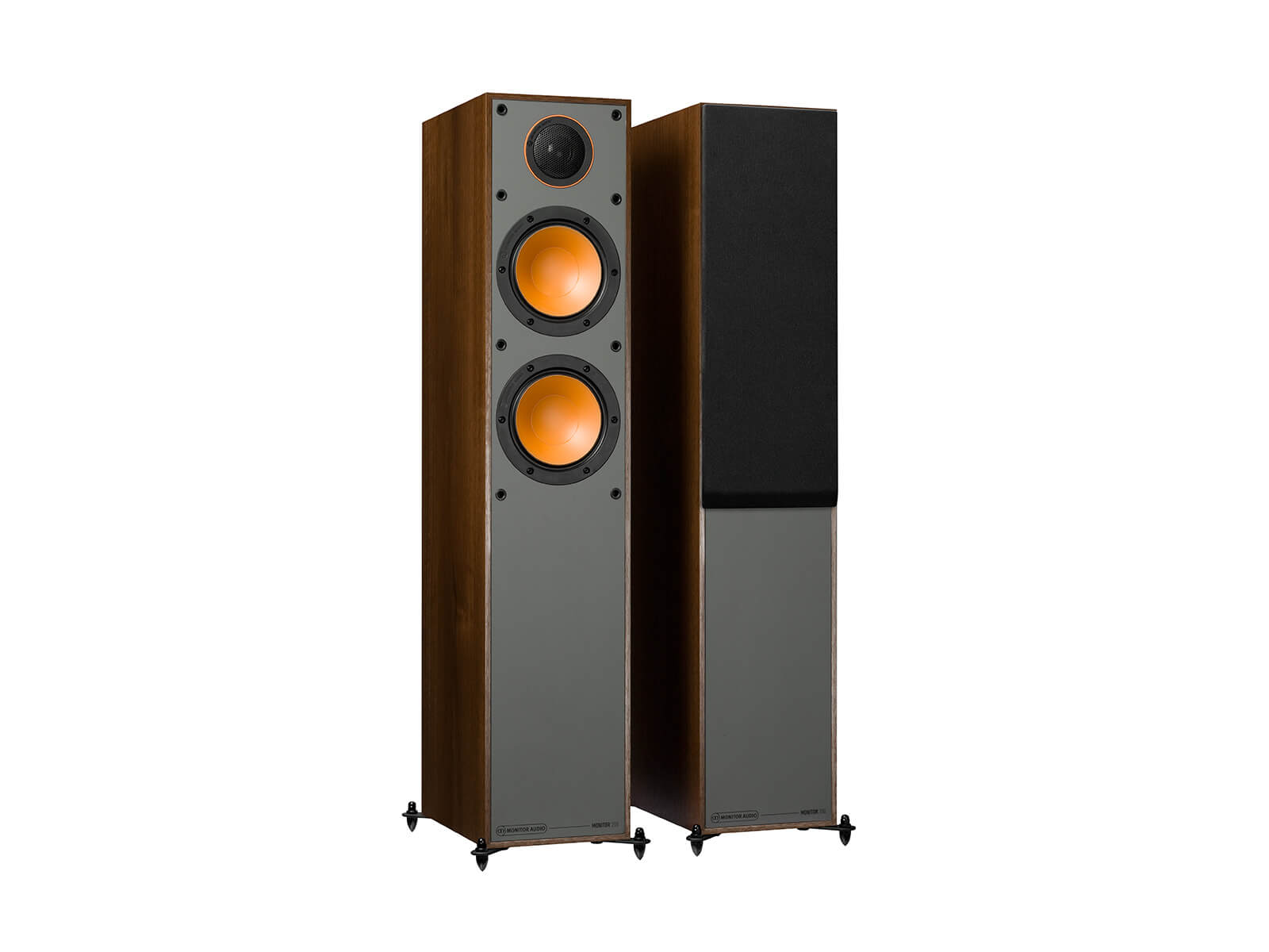 Monitor 200, floorstanding speakers, with and without grille in a walnut vinyl finish.