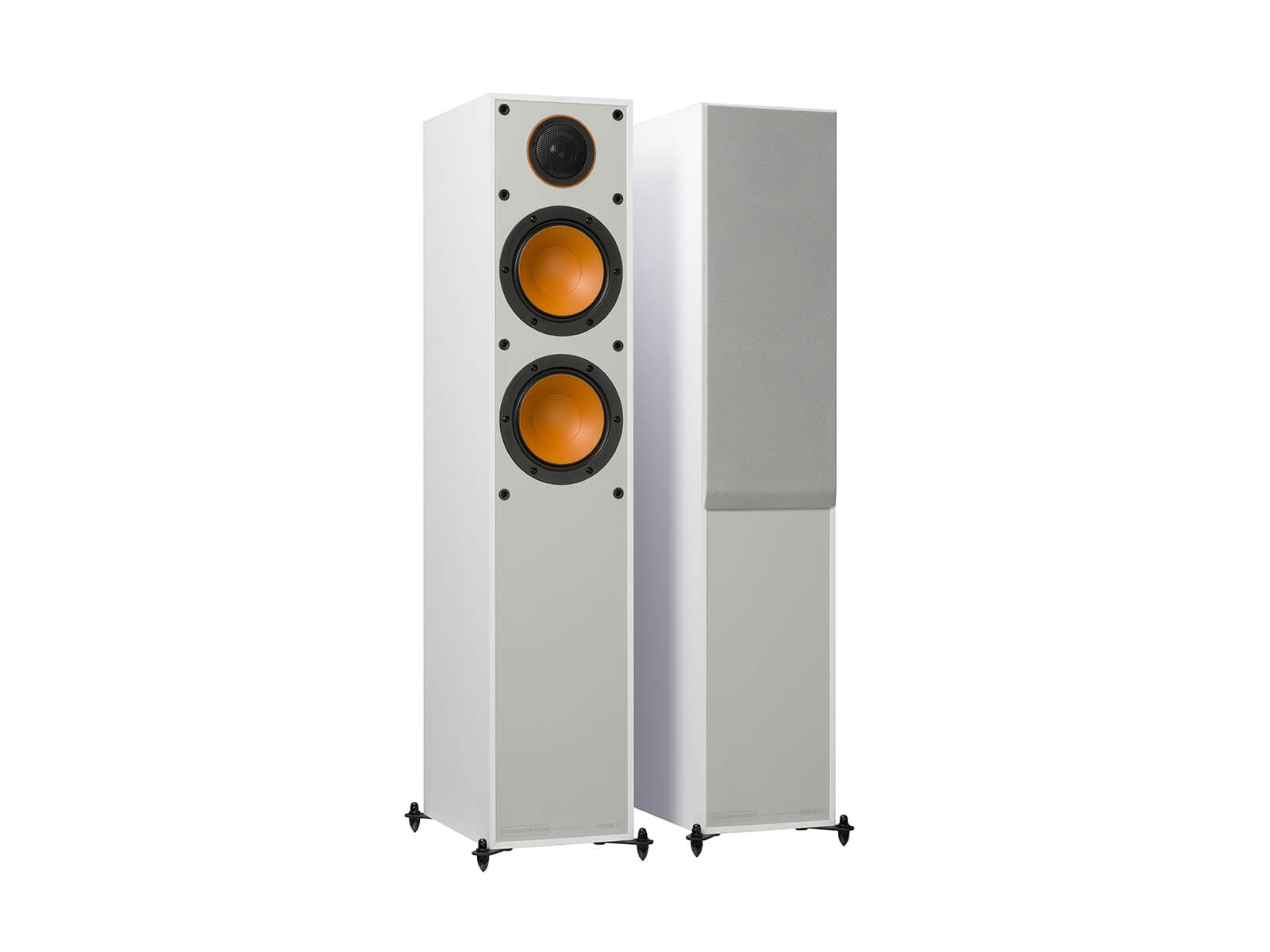 Monitor 200, floorstanding speakers, with and without grille in a white finish.