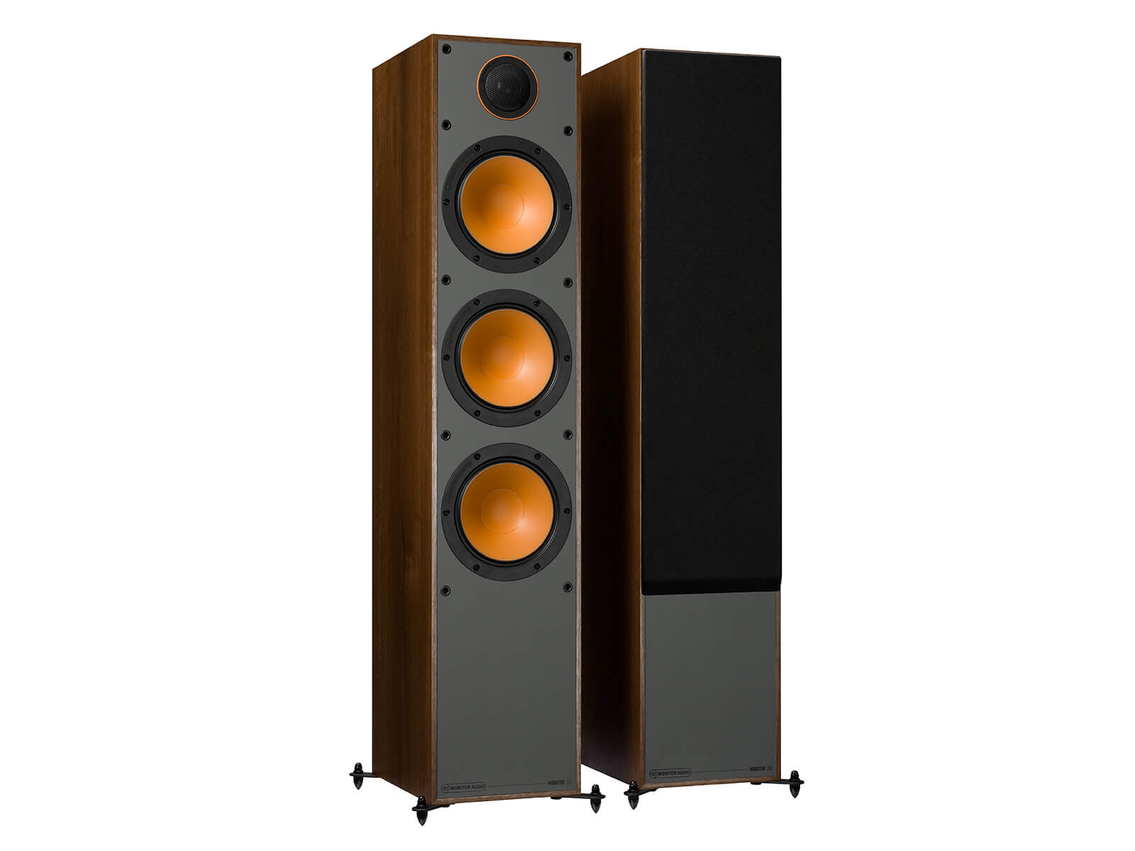 Monitor 300, floorstanding speakers, with and without grille in a walnut vinyl finish.