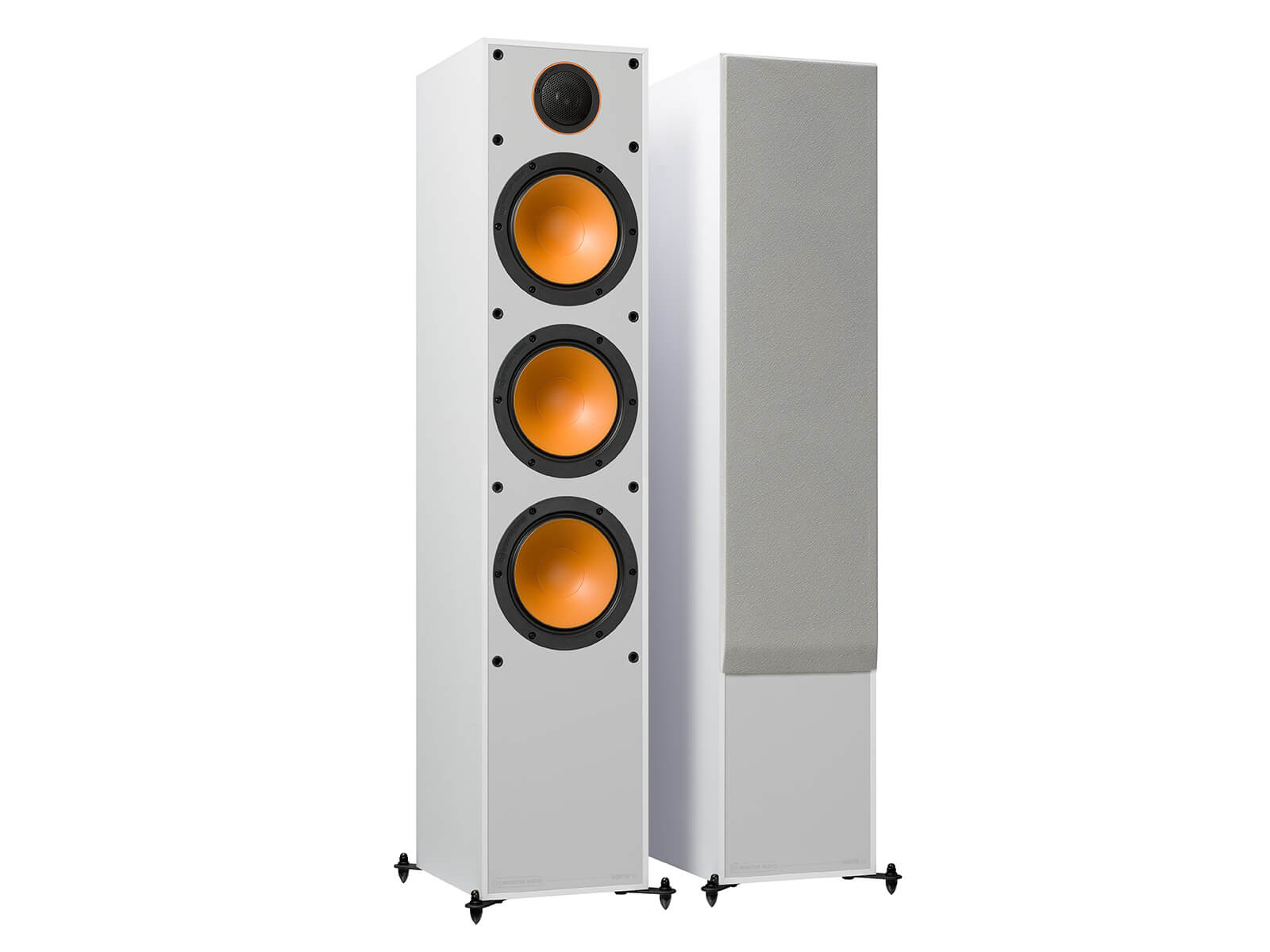 Monitor 300, floorstanding speakers, with and without grille in a white finish.
