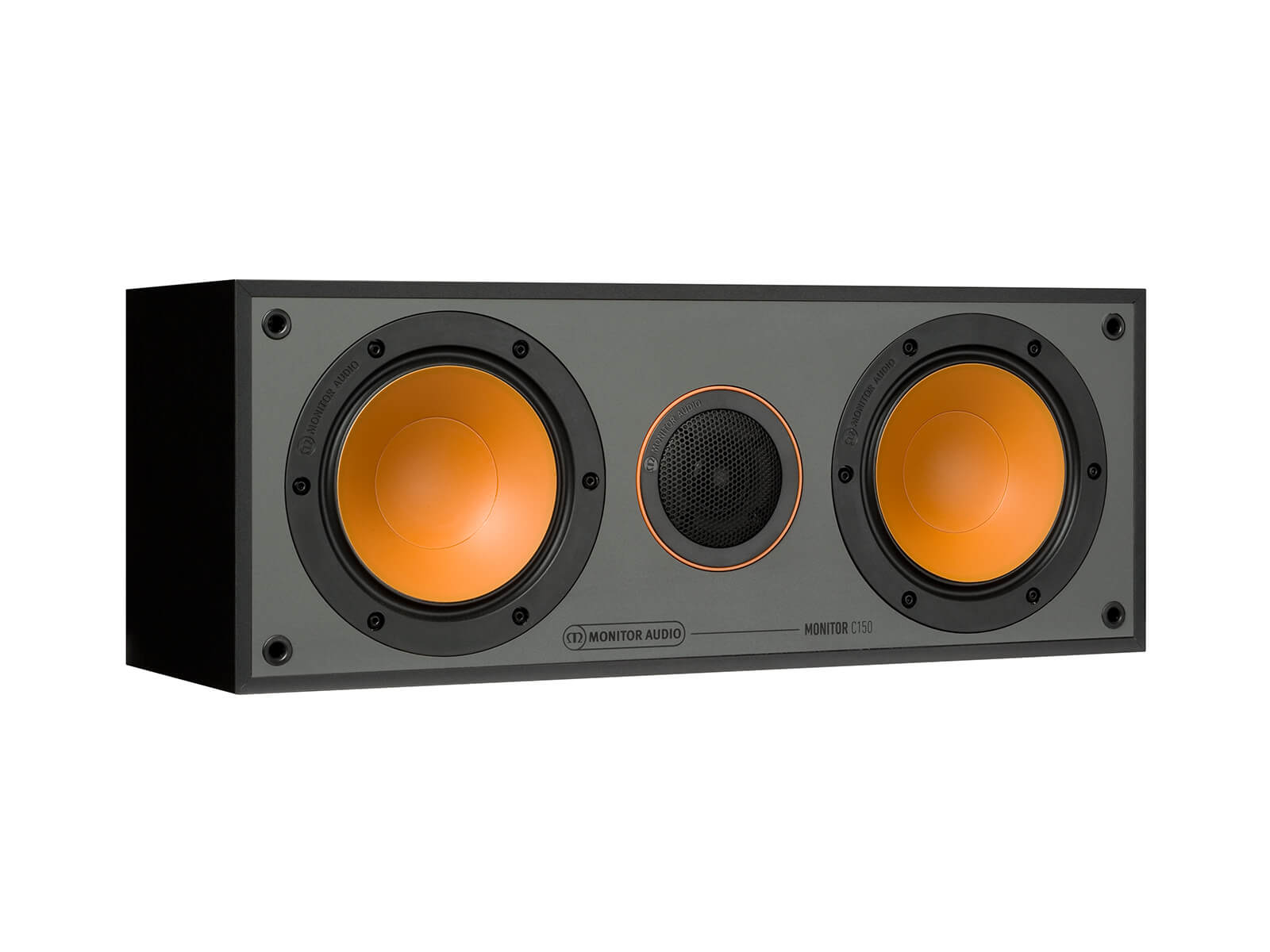 Monitor C150, grille-less centre channel speakers, with a black finish.