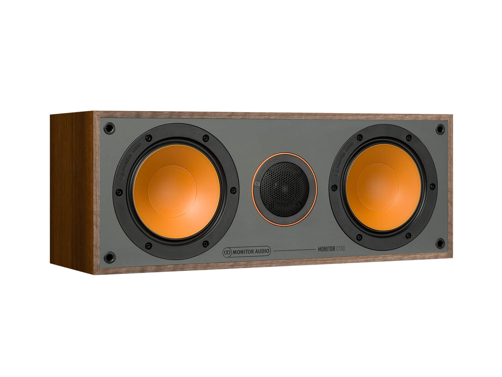 Monitor C150, grille-less centre channel speakers, with a walnut vinyl finish.