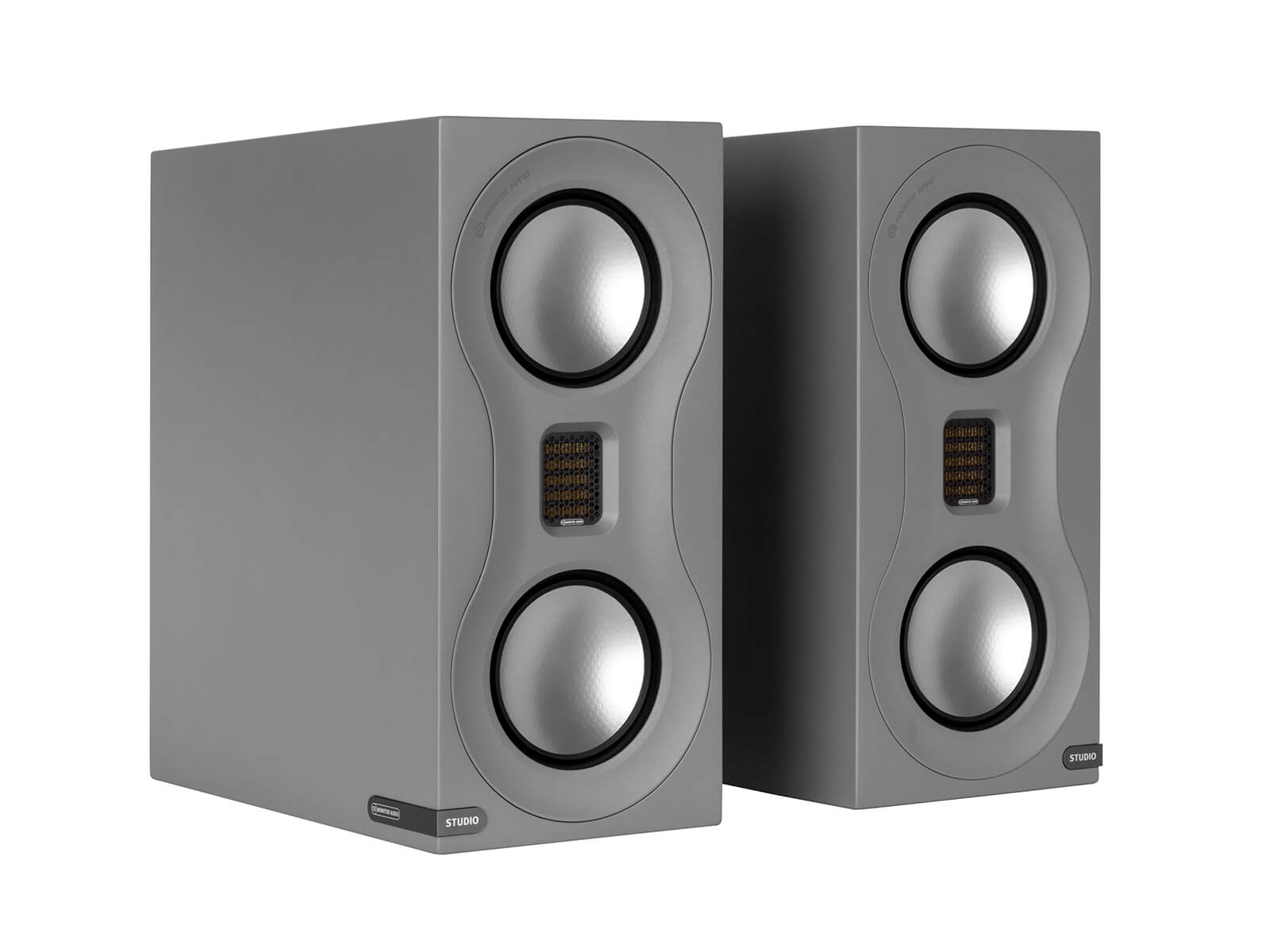 Studio, bookshelf speakers, with a satin grey finish.