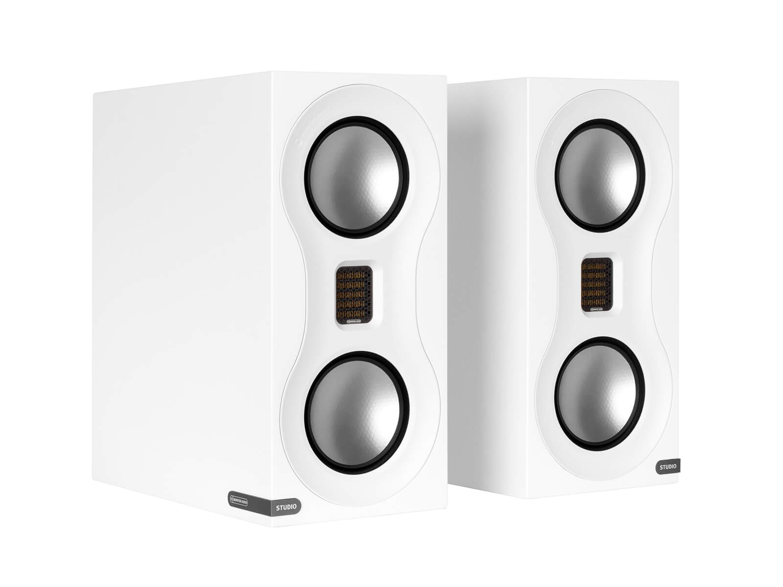 Studio, bookshelf speakers, with a satin white finish.