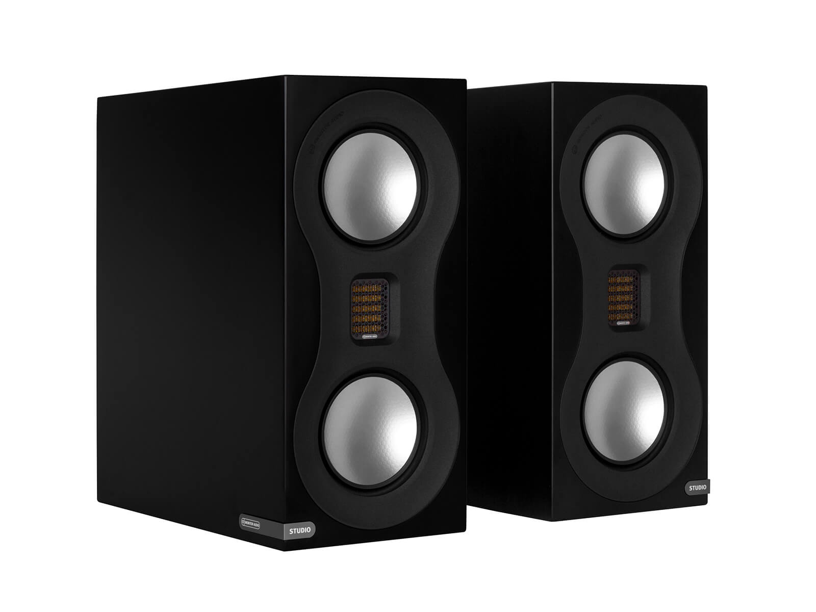 Studio, bookshelf speakers, with a satin black finish.