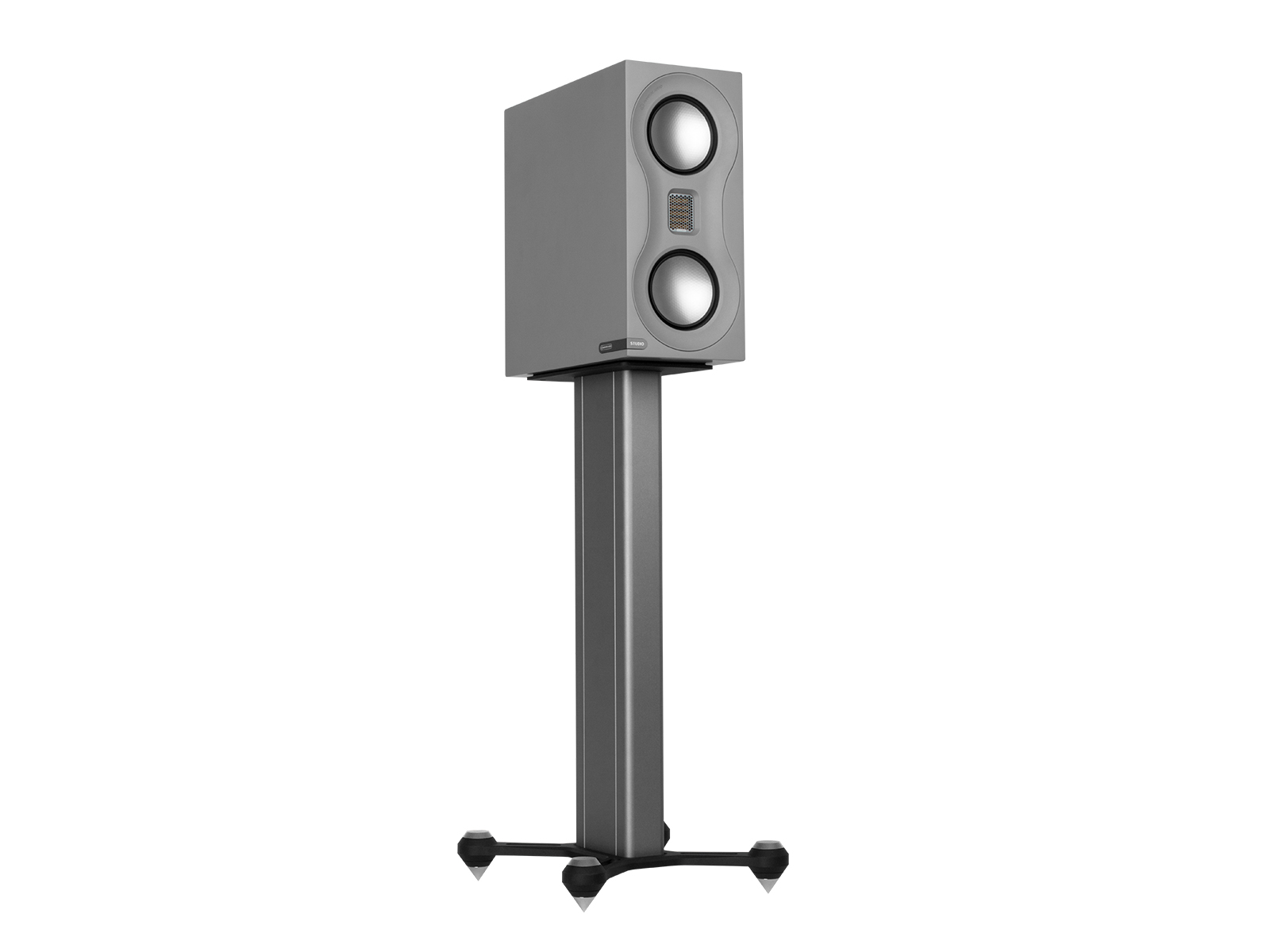 Speaker STAND, grey finish with a grey Studio speaker.