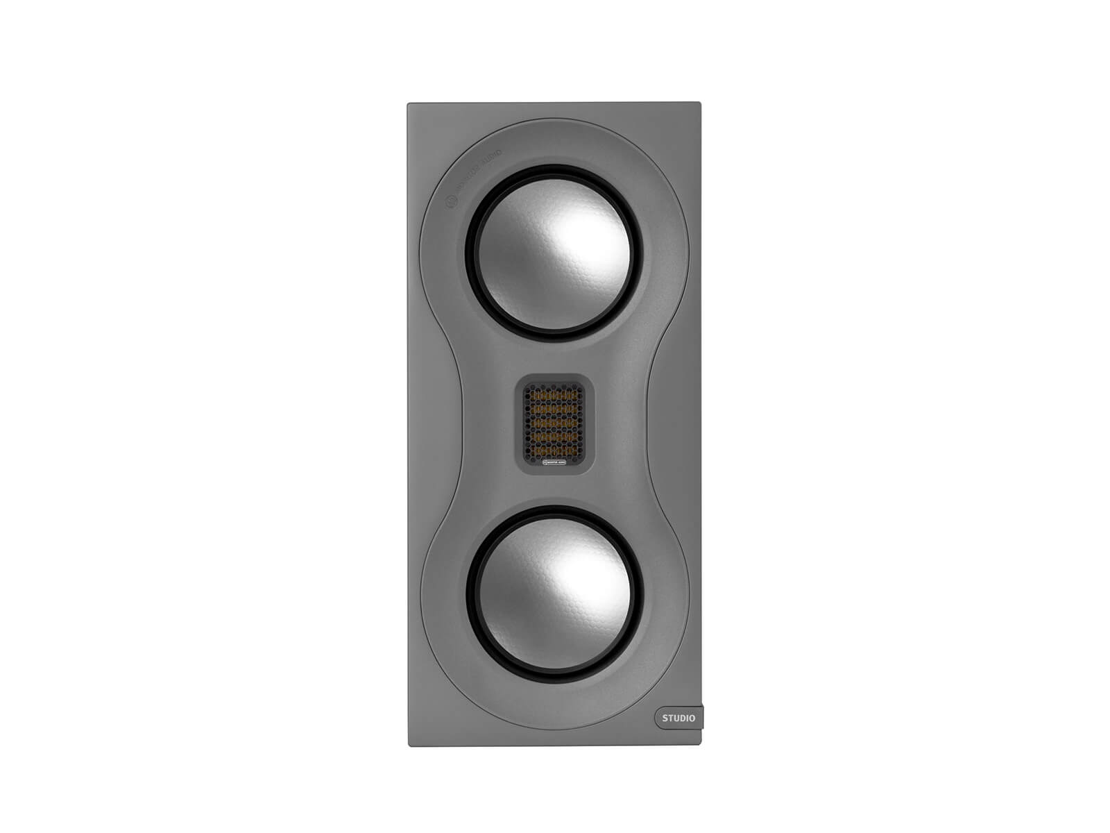 Studio, bookshelf speakers, front-on, with a satin grey finish.