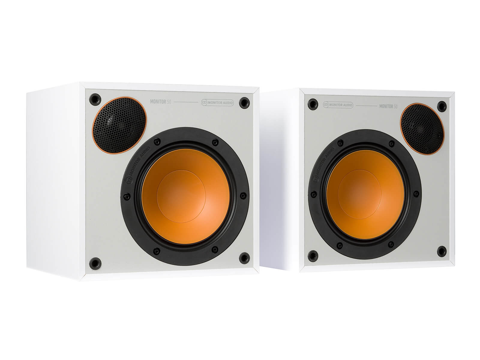 Monitor 50, bookshelf speakers, without grilles in a white finish.