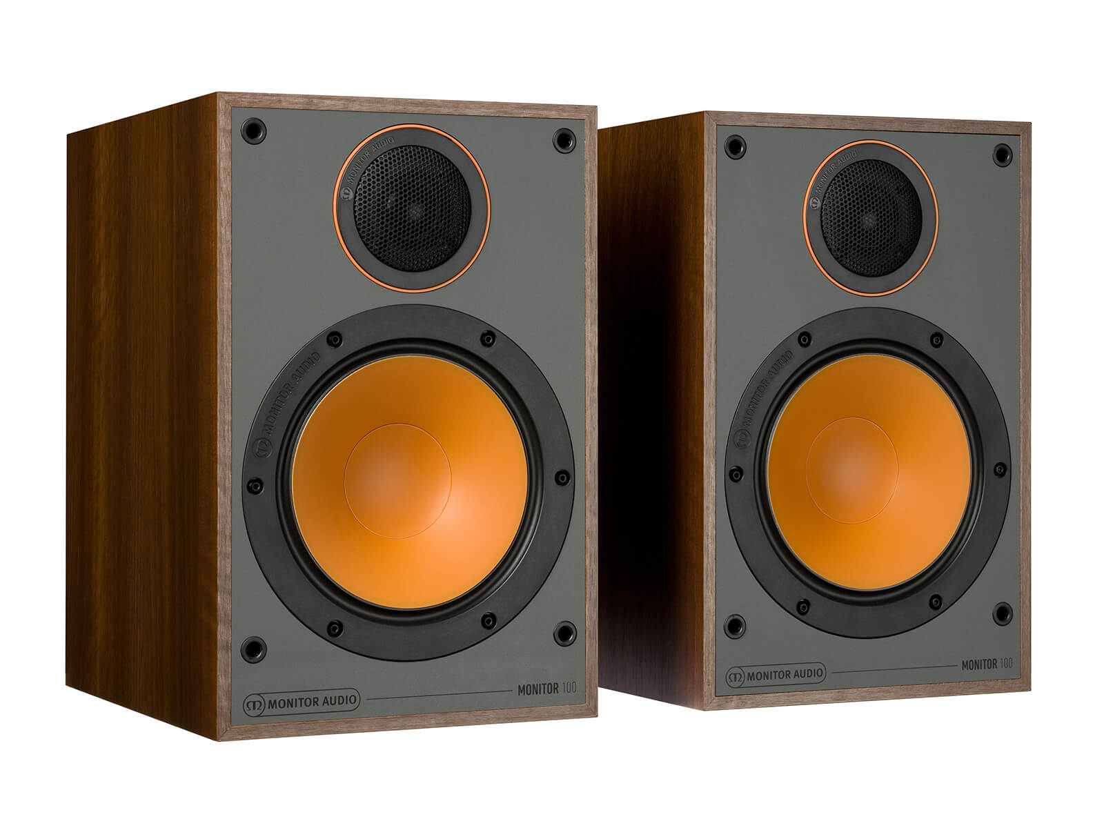 Monitor 100, bookshelf speakers, without grilles in a walnut vinyl finish.