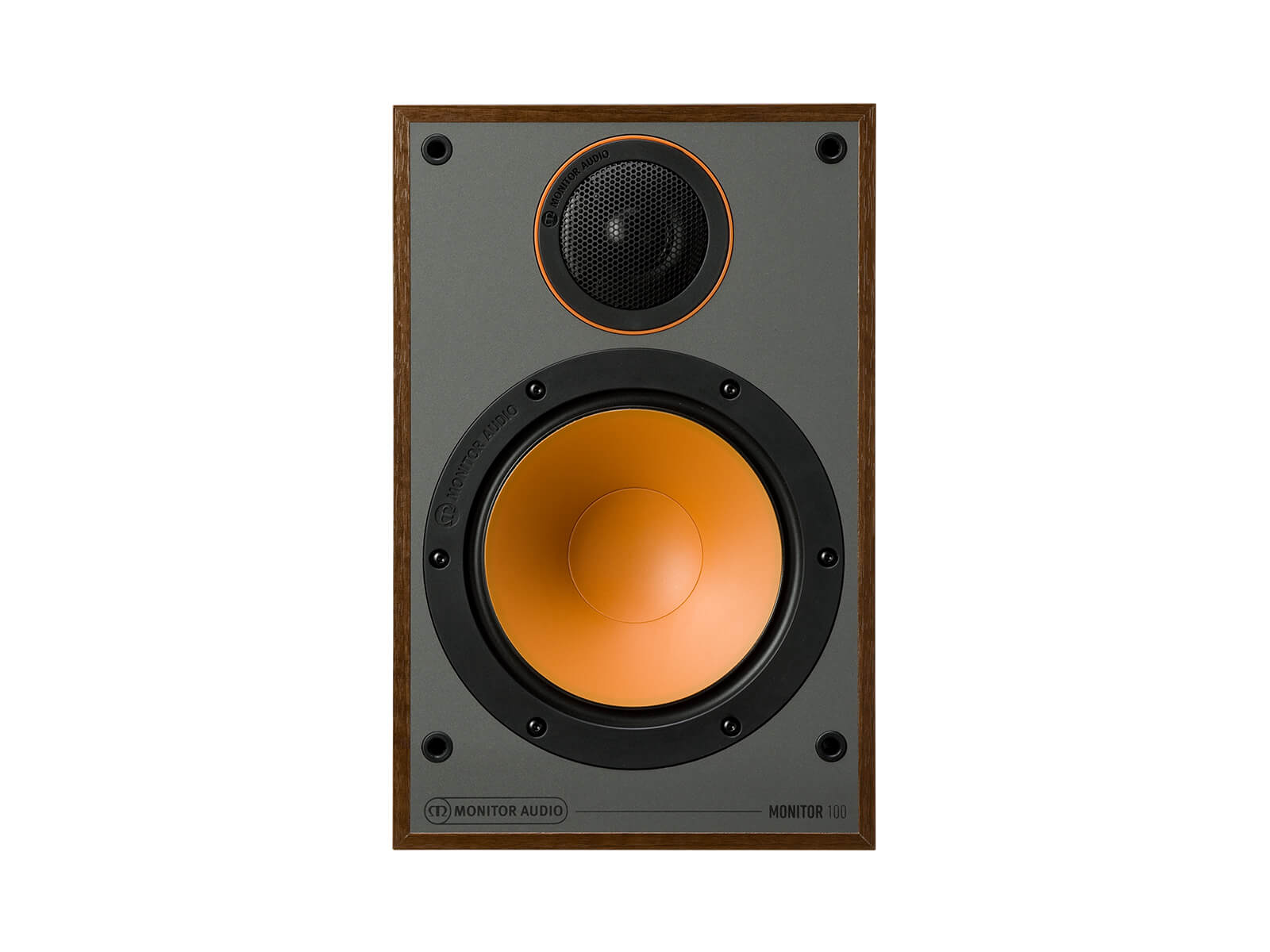 Monitor 100, bookshelf speakers, without grille, front on in a walnut vinyl finish.