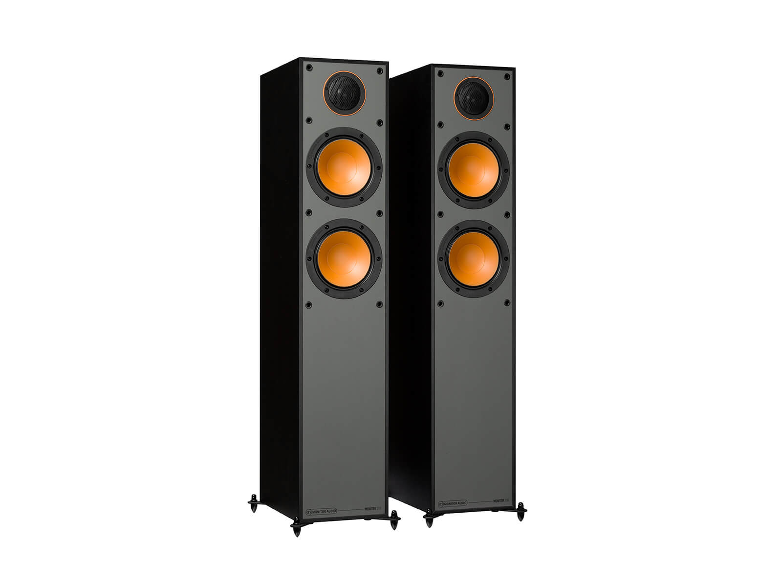 Monitor 200, floorstanding speakers, without grilles in a black finish.