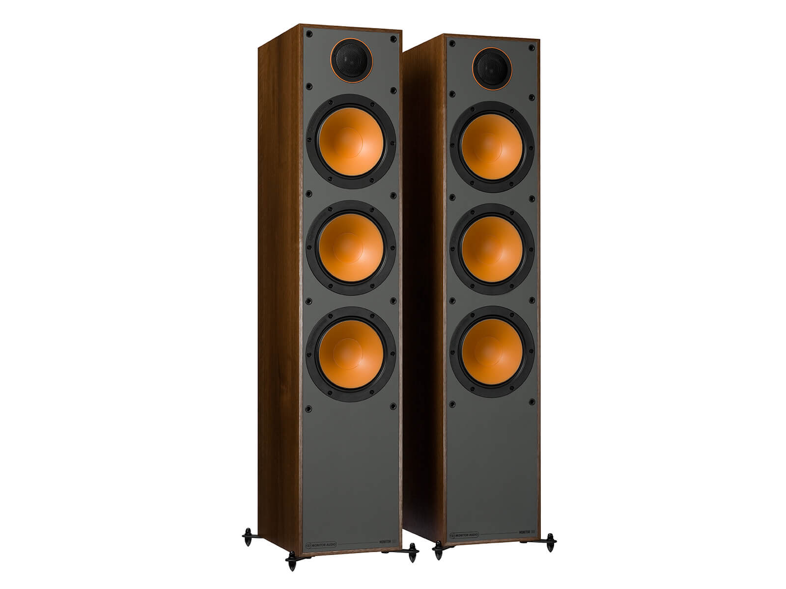 Monitor 300, floorstanding speakers, without grilles in a walnut vinyl finish.