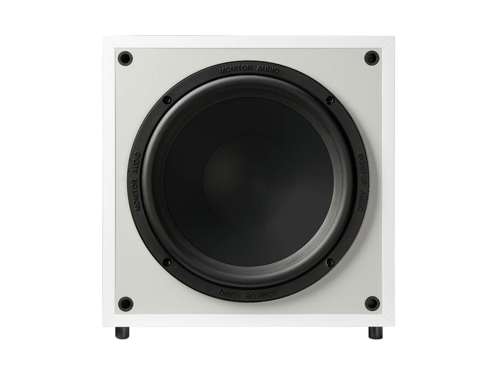 Monitor MRW-10, grille-less subwoofer, front on a white finish.