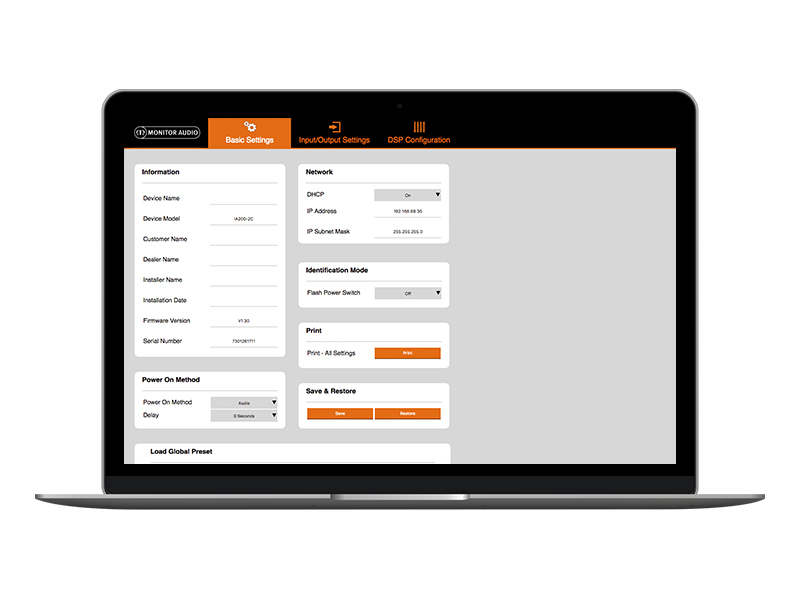 Connect IP interface web application for Monitor Audio amplifiers.