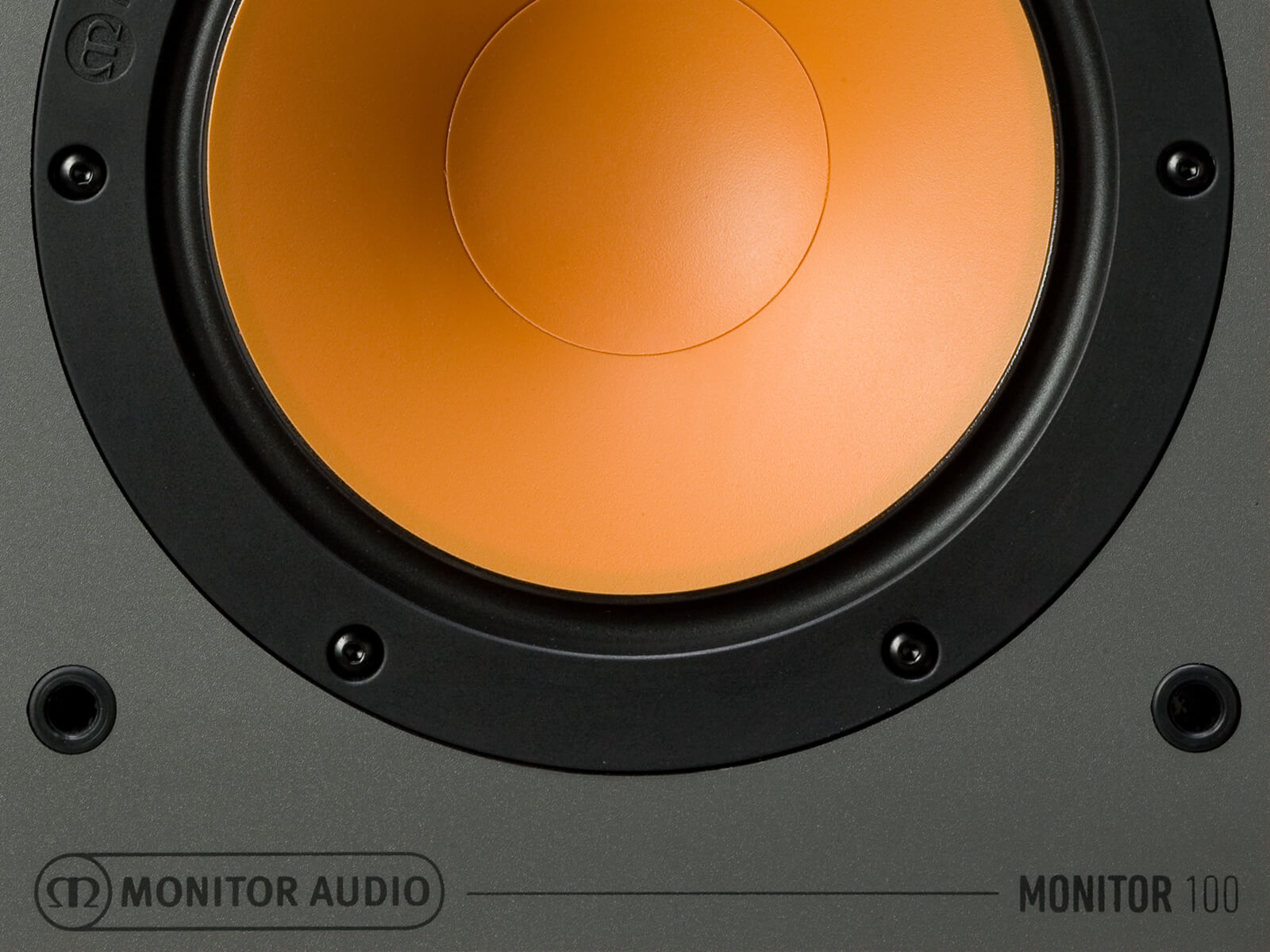Monitor 100, bookshelf speakers, front detail.