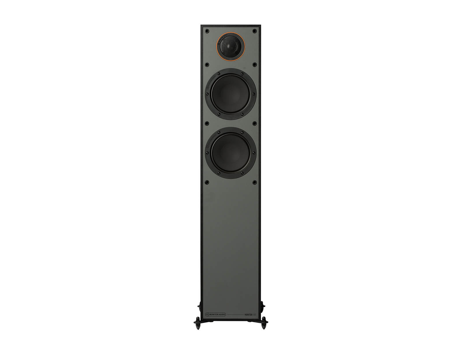Monitor 200, floorstanding speakers, without grille, front on in a black finish.