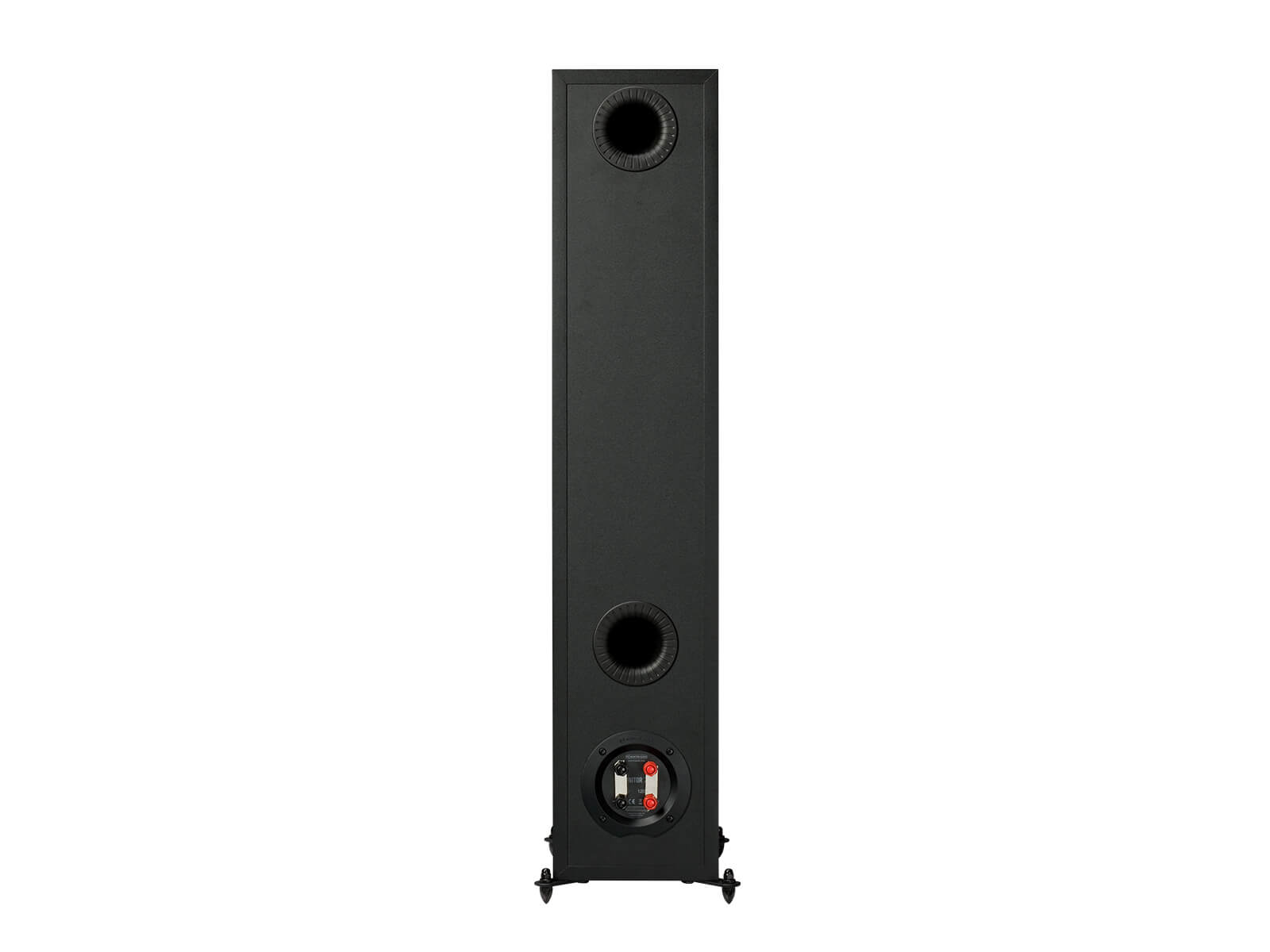 Monitor 200, floorstanding speakers, rear in a black finish.