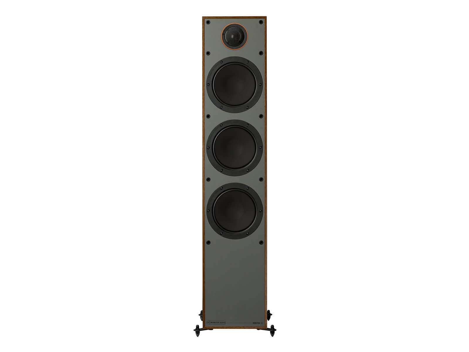 Monitor 300, floorstanding speakers, without grille, front on in a walnut vinyl finish.