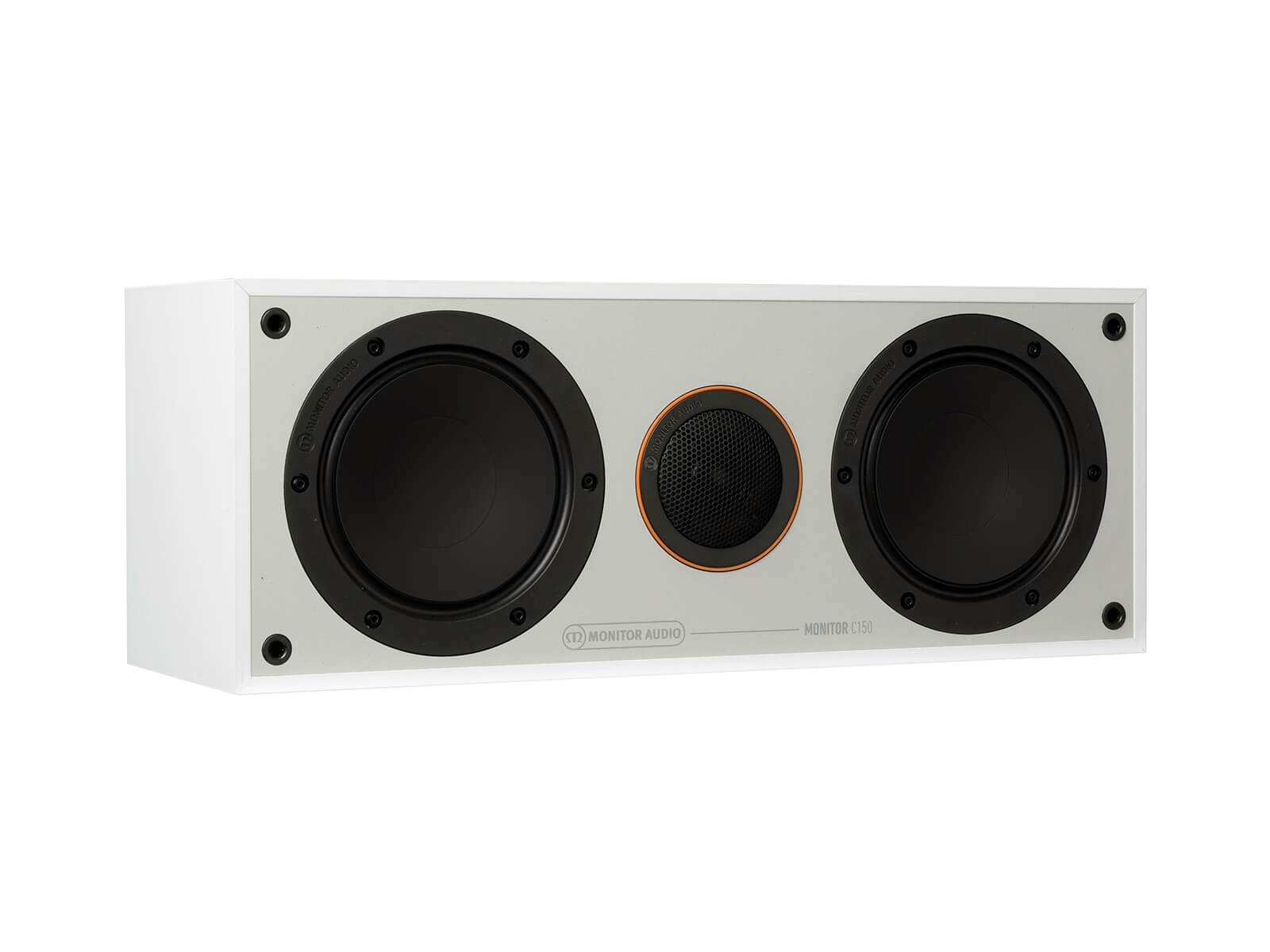 Monitor C150, grille-less centre channel speakers, with a white finish.