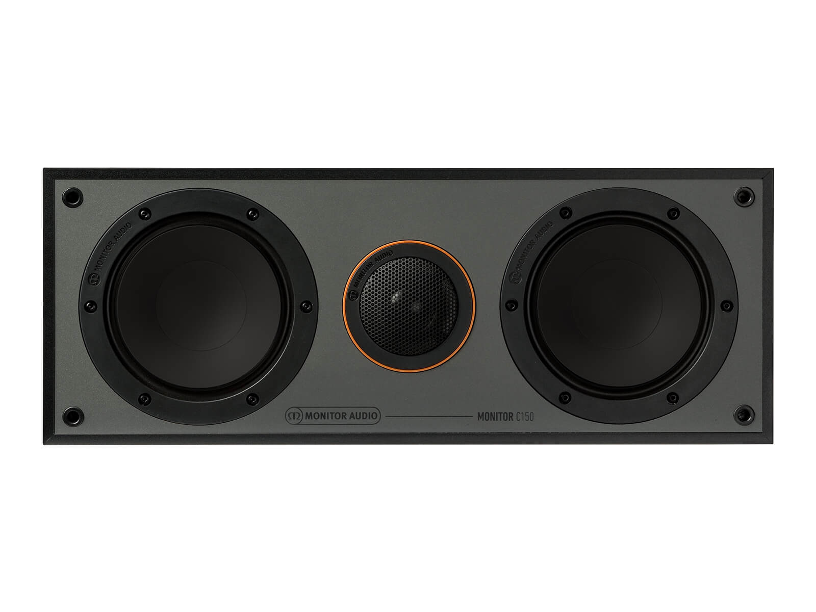 Monitor C150, centre channel speakers, without grille, front on in a black finish.