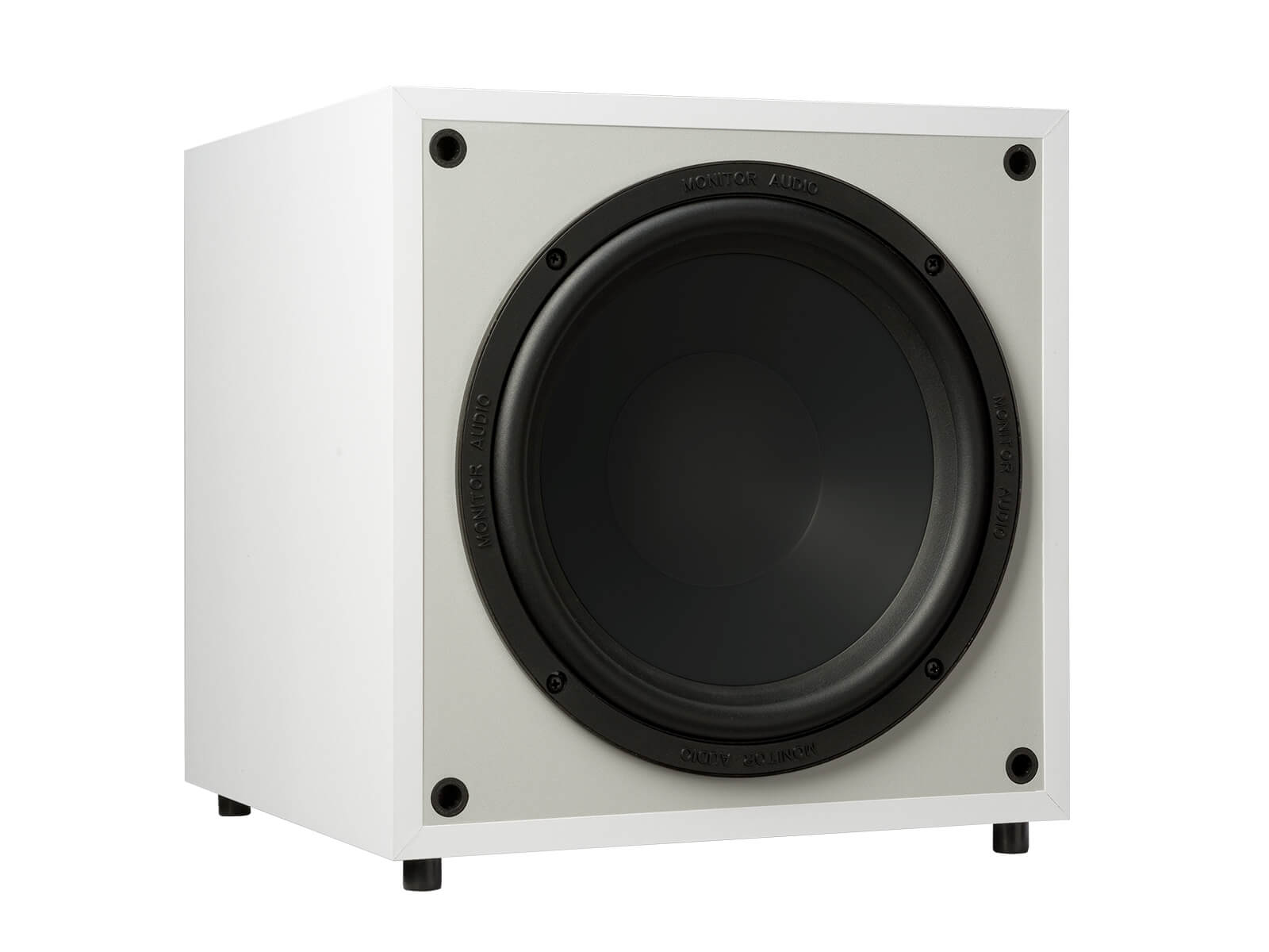 Monitor MRW-10, grille-less subwoofer, with a white finish.