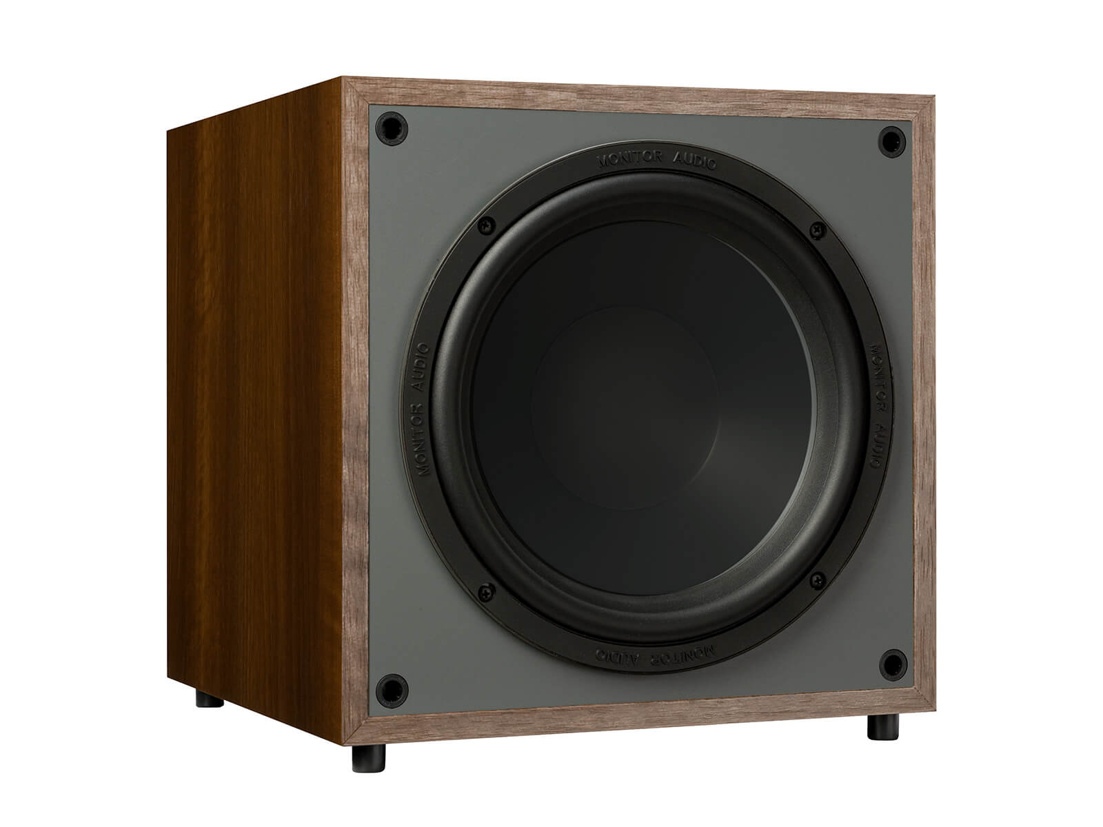 Monitor MRW-10, grille-less subwoofer, with a walnut vinyl finish.