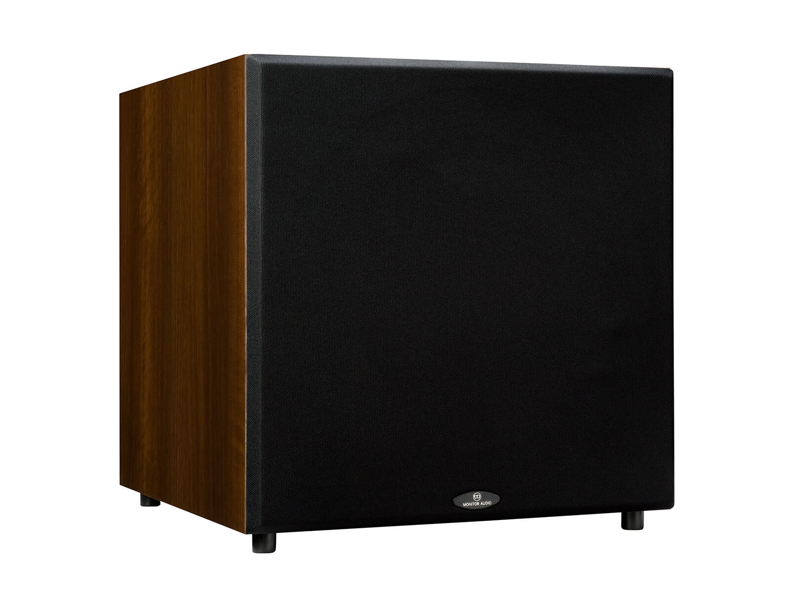 Monitor MRW-10 subwoofer, featuring a grill and a walnut vinyl finish.