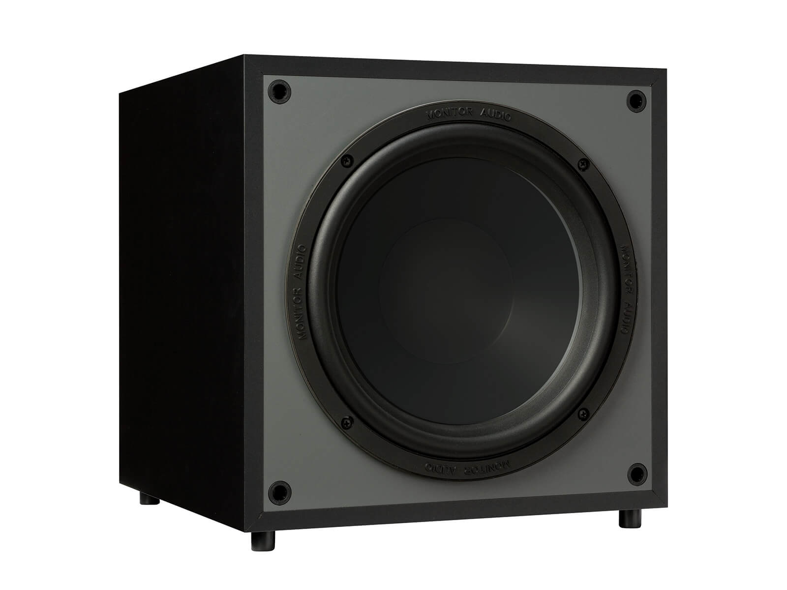 Monitor MRW-10, grille-less subwoofer, with a black finish.