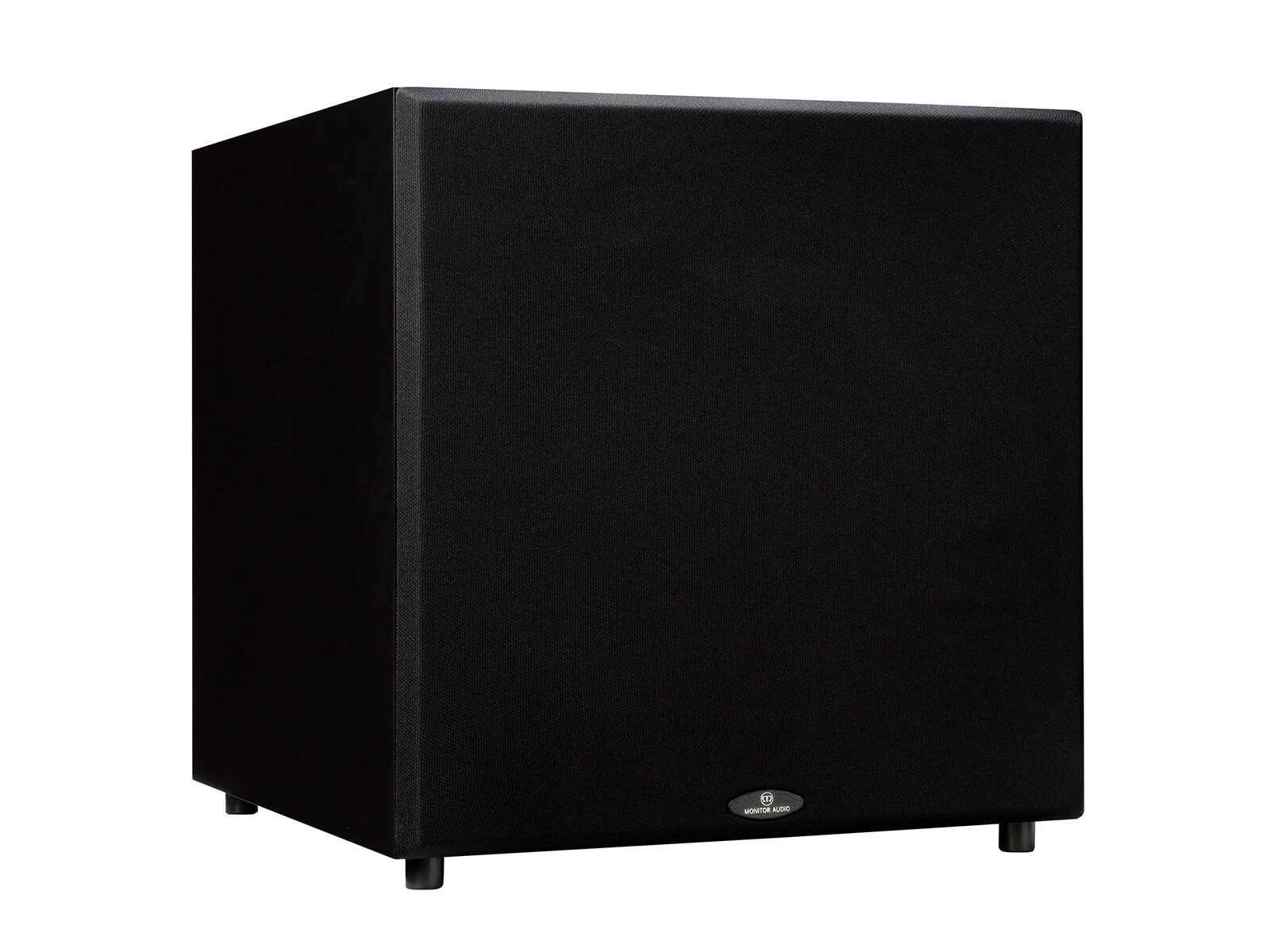 Monitor MRW-10 subwoofer, featuring a grill and a black finish.