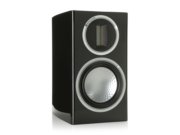 Gold 50, grille-less bookshelf speakers, with a piano black lacquer finish.