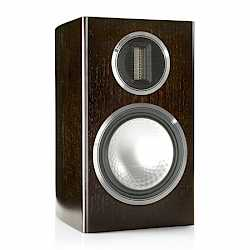 Gold 100, grille-less bookshelf speakers, with a dark walnut real wood veneer finish. - thumbnail