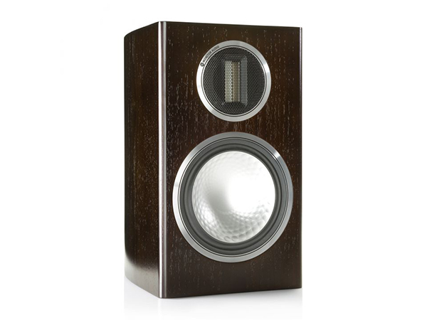 Gold 100, grille-less bookshelf speakers, with a dark walnut real wood veneer finish.