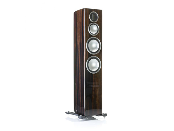 Gold 300, grille-less floorstanding speakers, with a piano ebony finish.