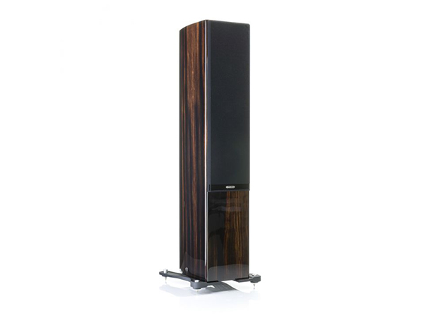 Gold 300, floorstanding speakers, featuring a grille and a piano ebony finish.