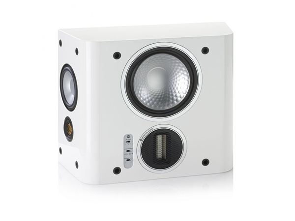 Gold FX, grille-less surround speakers, with a high gloss white lacquer finish.