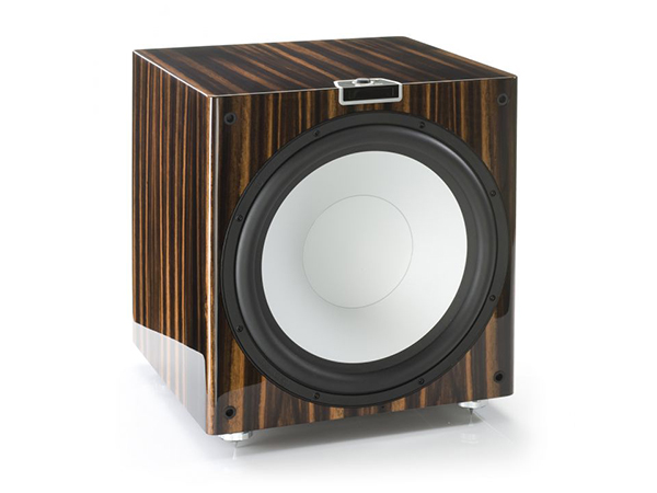 Gold W15 grille-less subwoofer, with a piano ebony finish.