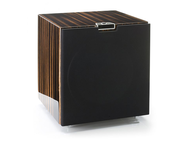 Gold W15 subwoofer, featuring a grille and a piano ebony finish.