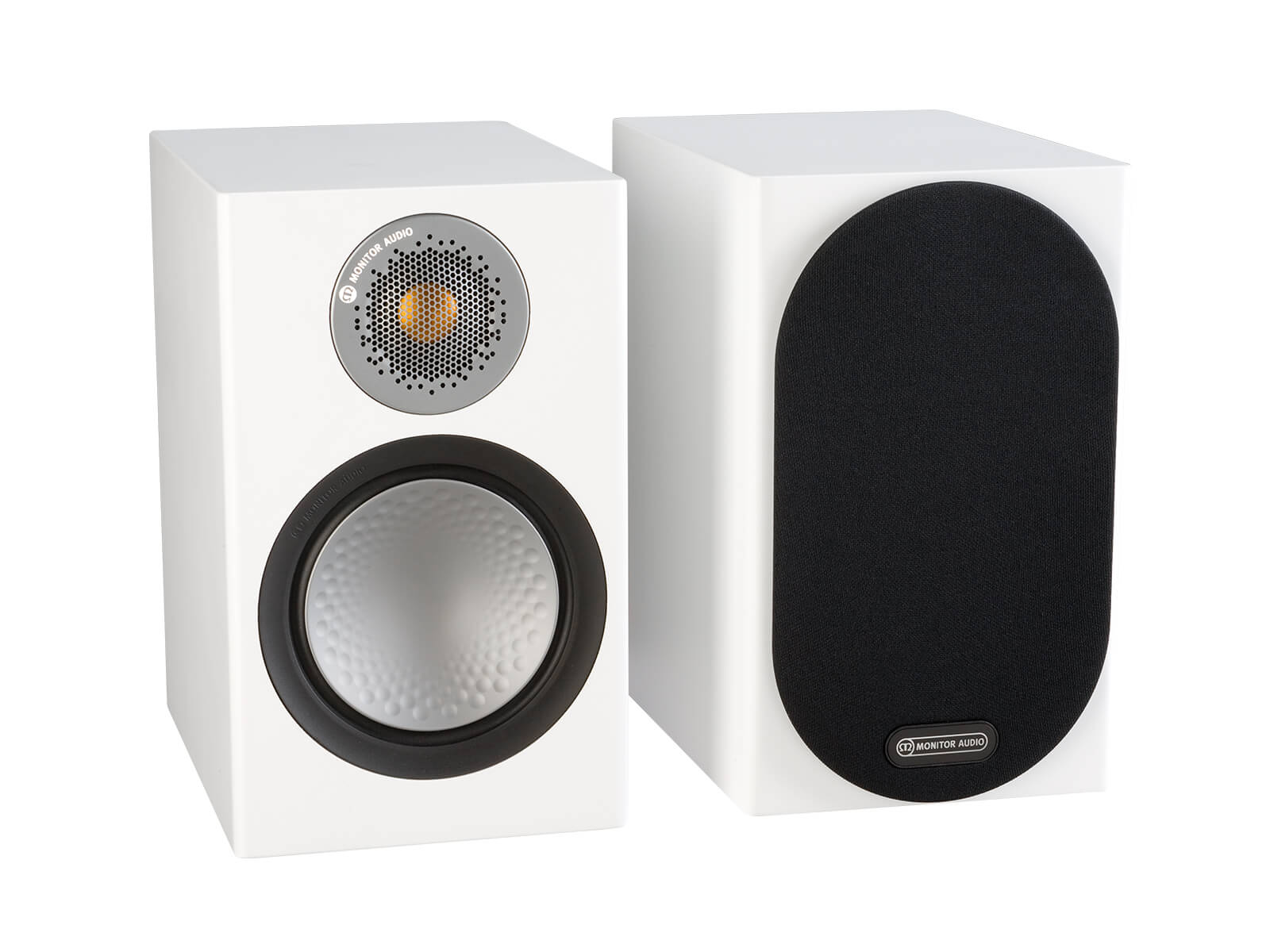Silver 50, bookshelf speakers, with and without grille in a satin white finish.