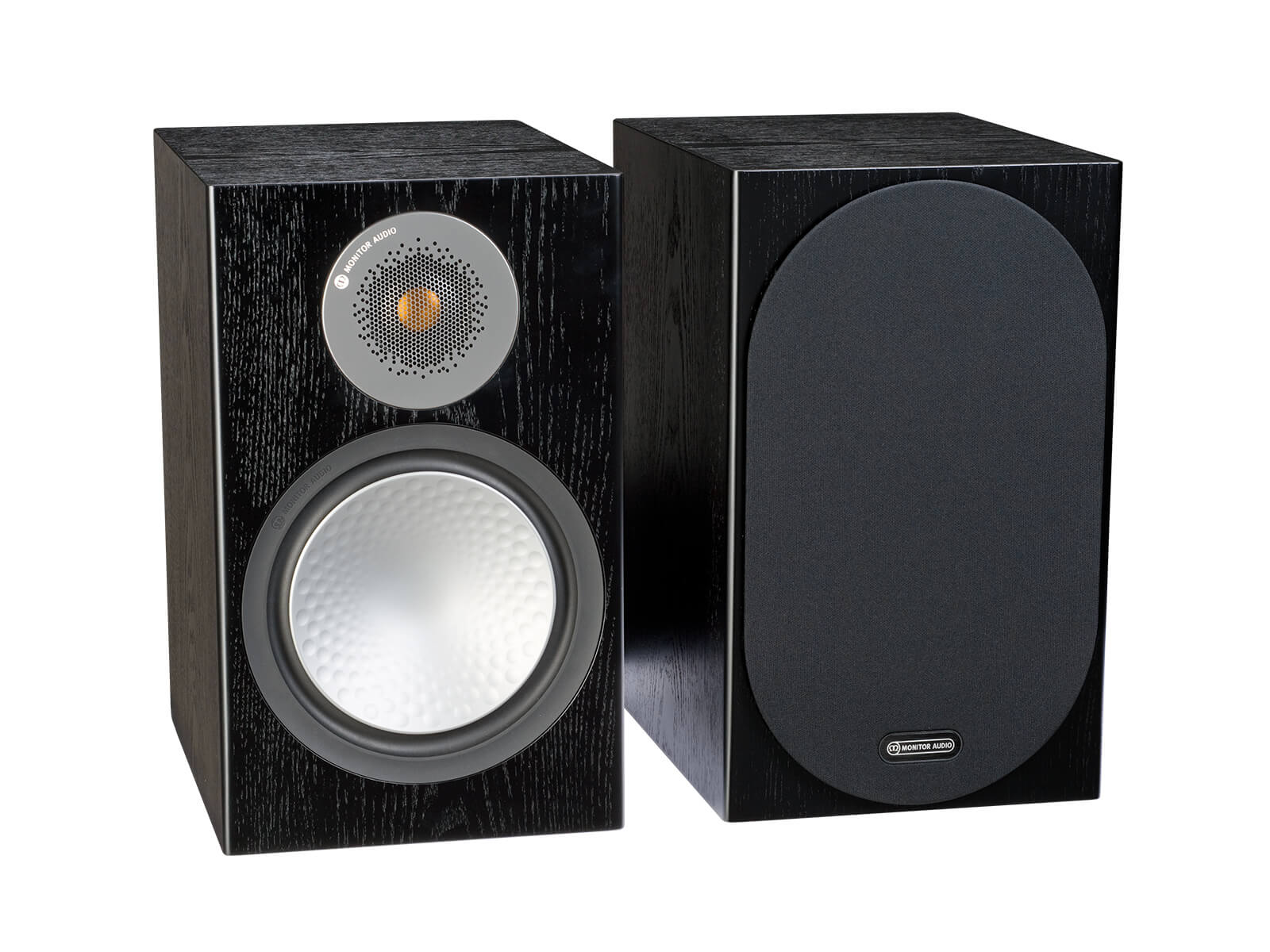 Silver 100, bookshelf speakers, with and without grille in a black oak finish.