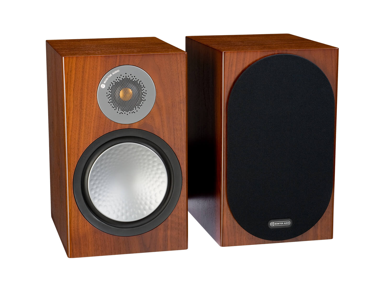 Silver 100, bookshelf speakers, with and without grille in a walnut finish.