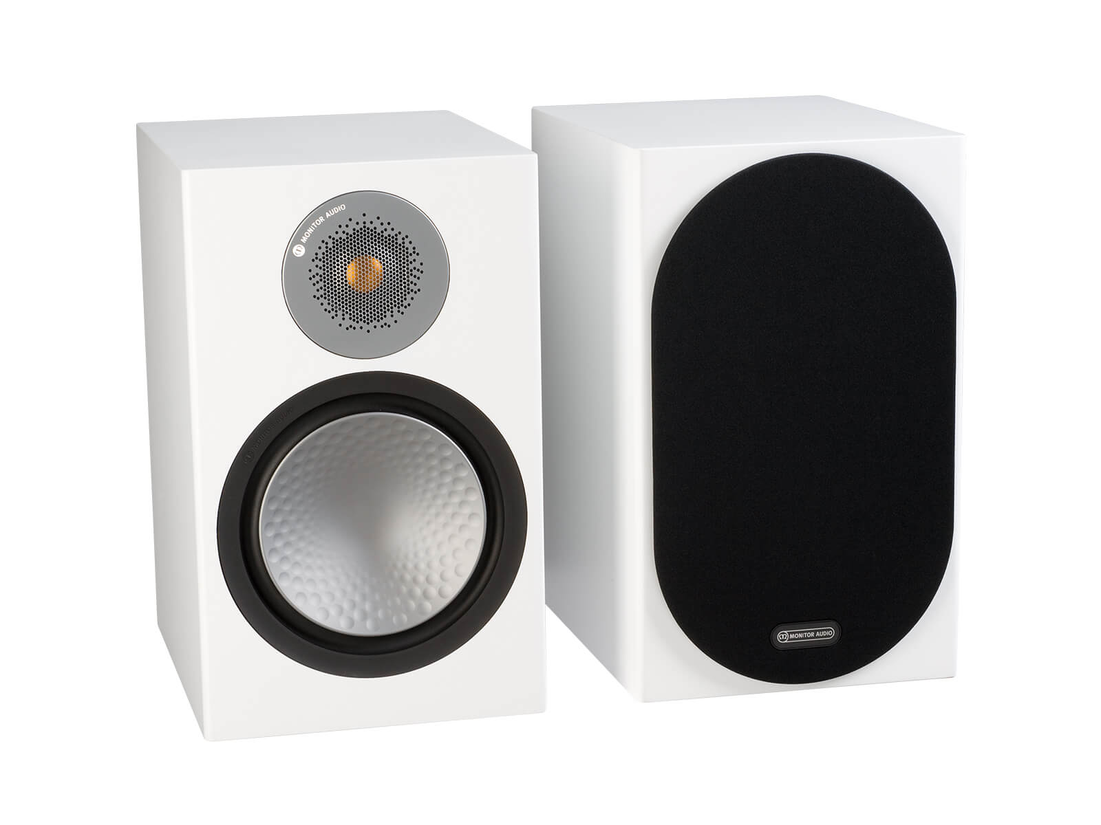 Silver 100, bookshelf speakers, with and without grille in a satin white finish.
