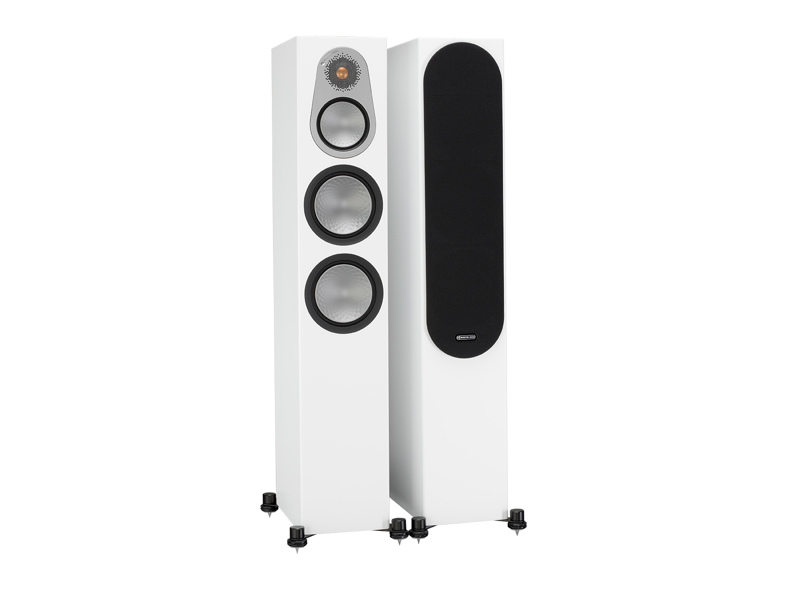 Silver 300, floorstanding speakers, with and without grille in a white satin finish.