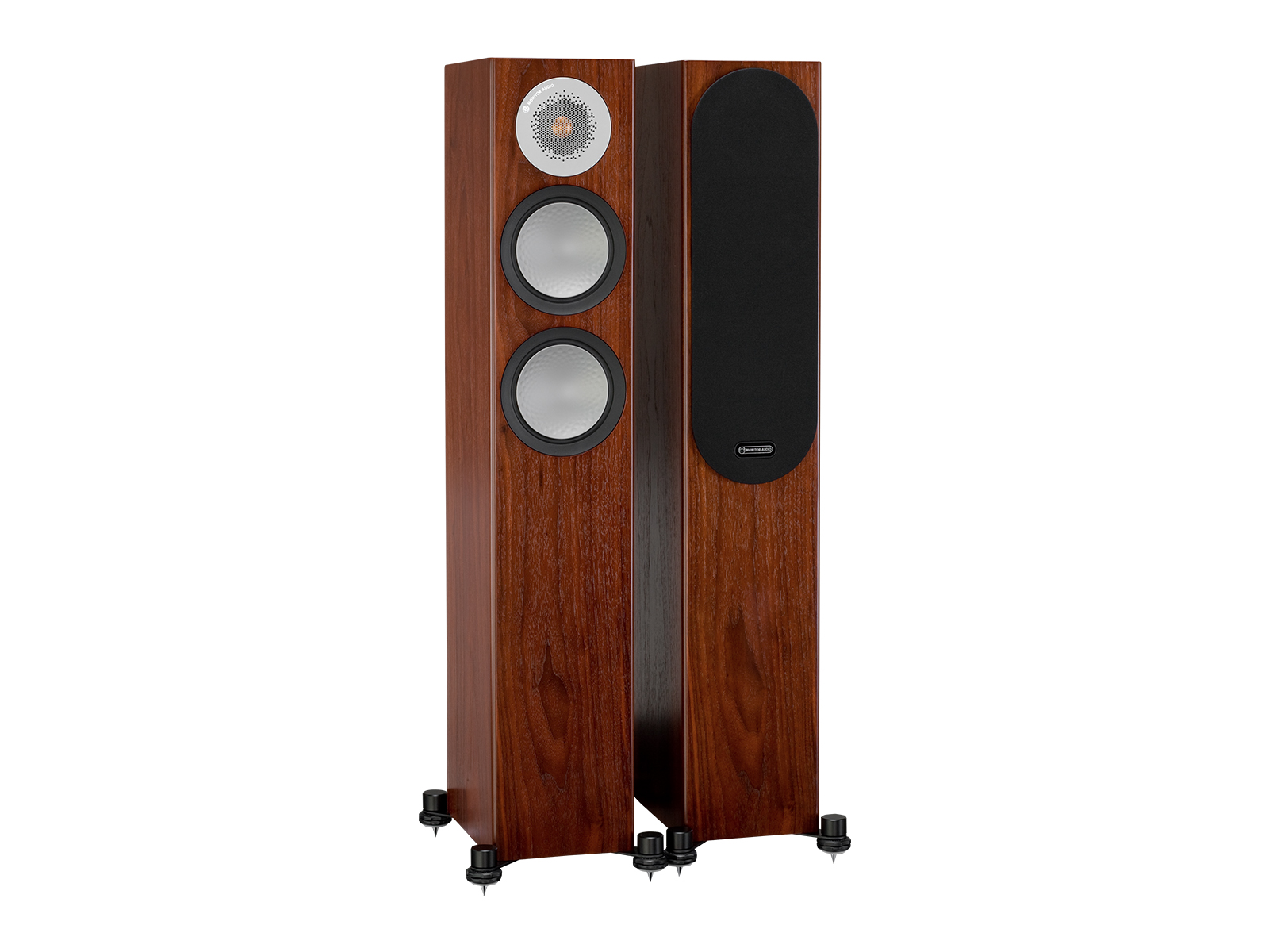 Silver 200, floorstanding speakers, with and without grille in a walnut finish.