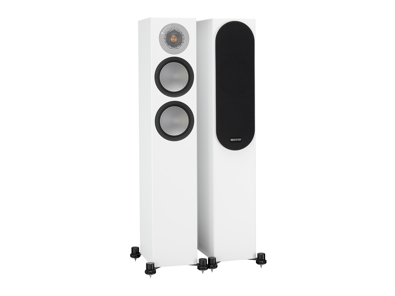 Silver 200, floorstanding speakers, with and without grille in a white satin finish.